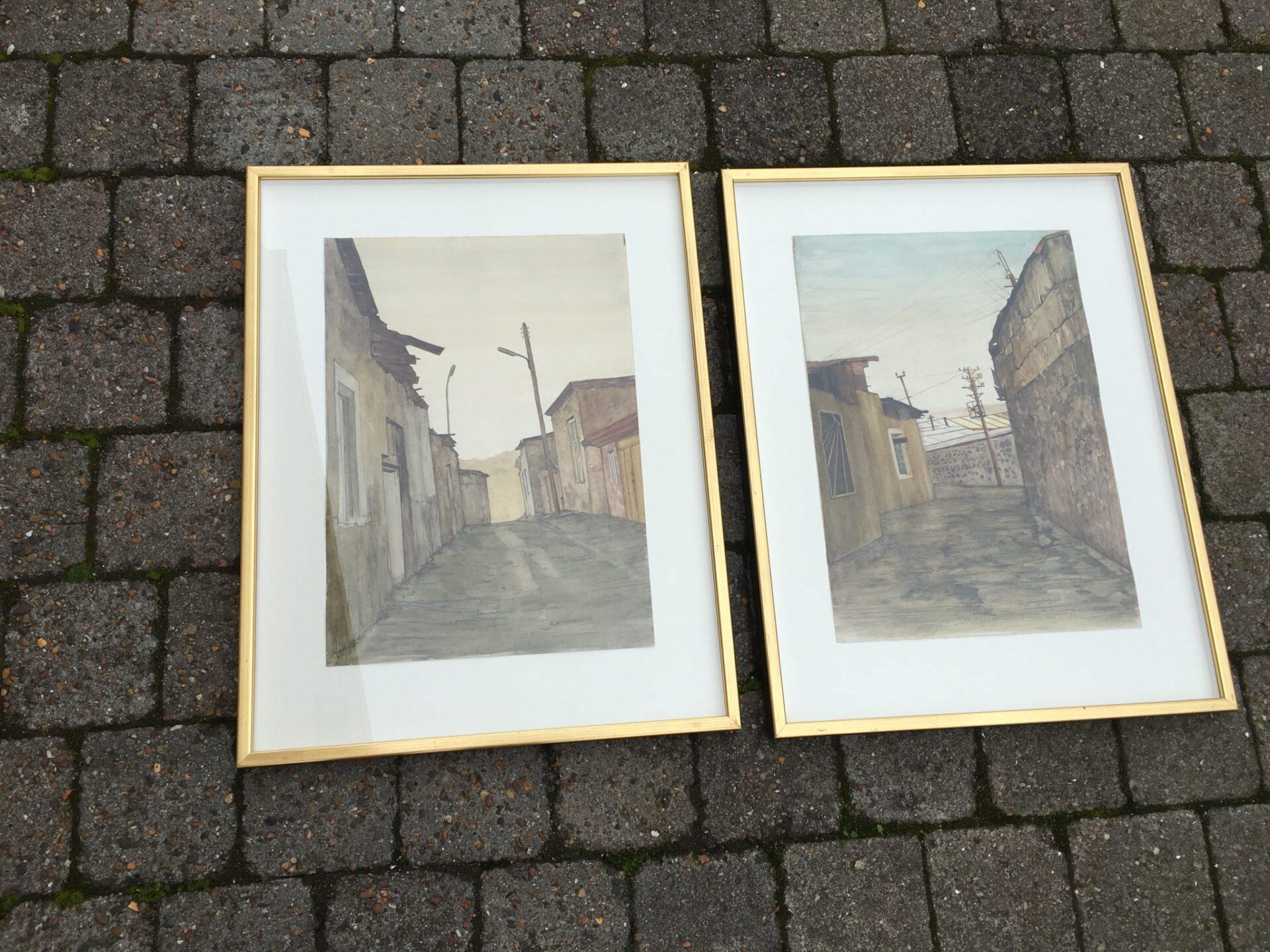 2 stk akvarel i alt 400 kr
