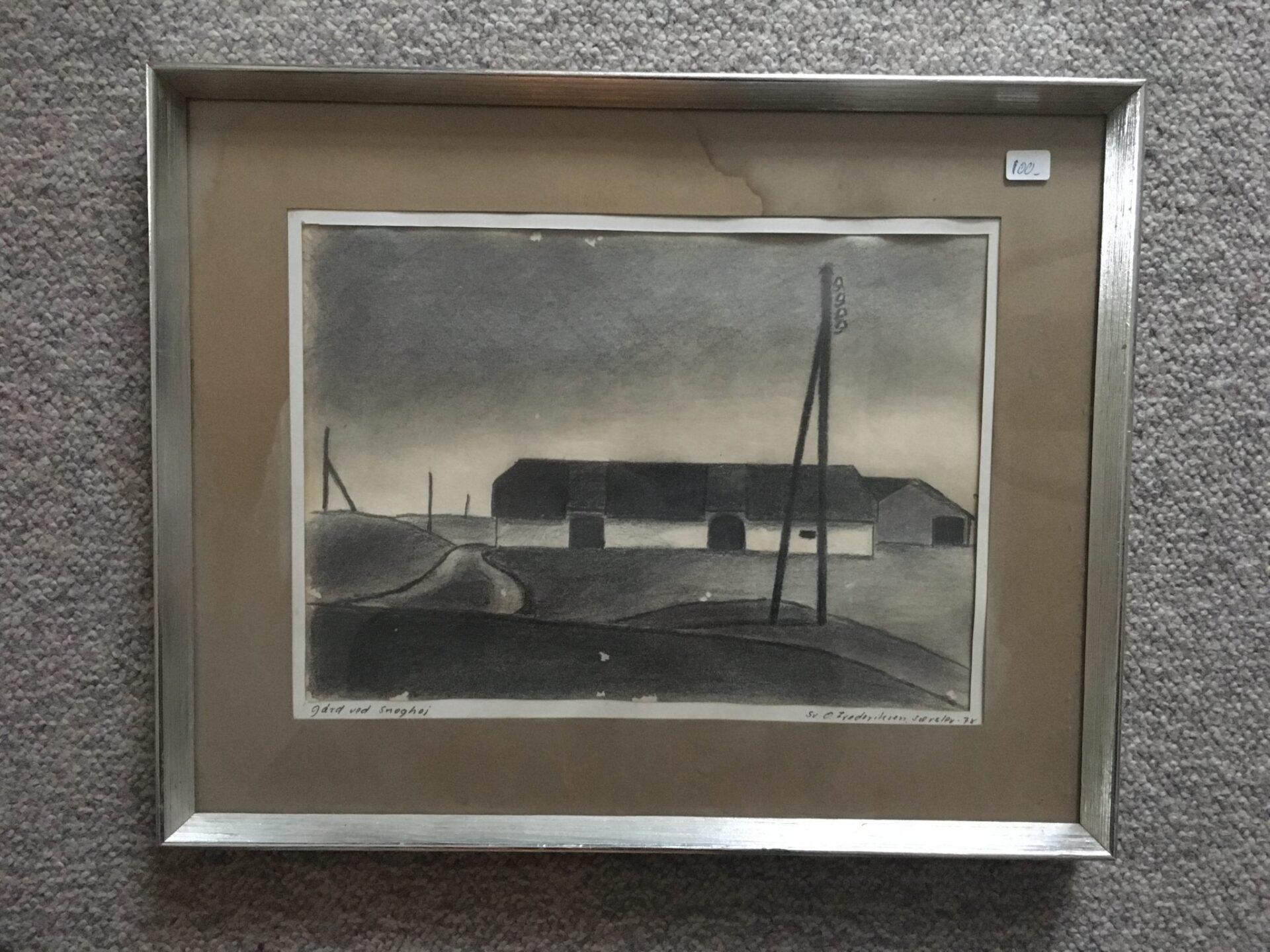 Gård ved Snoghøj (blyantstegning 1978), pris 100 kr