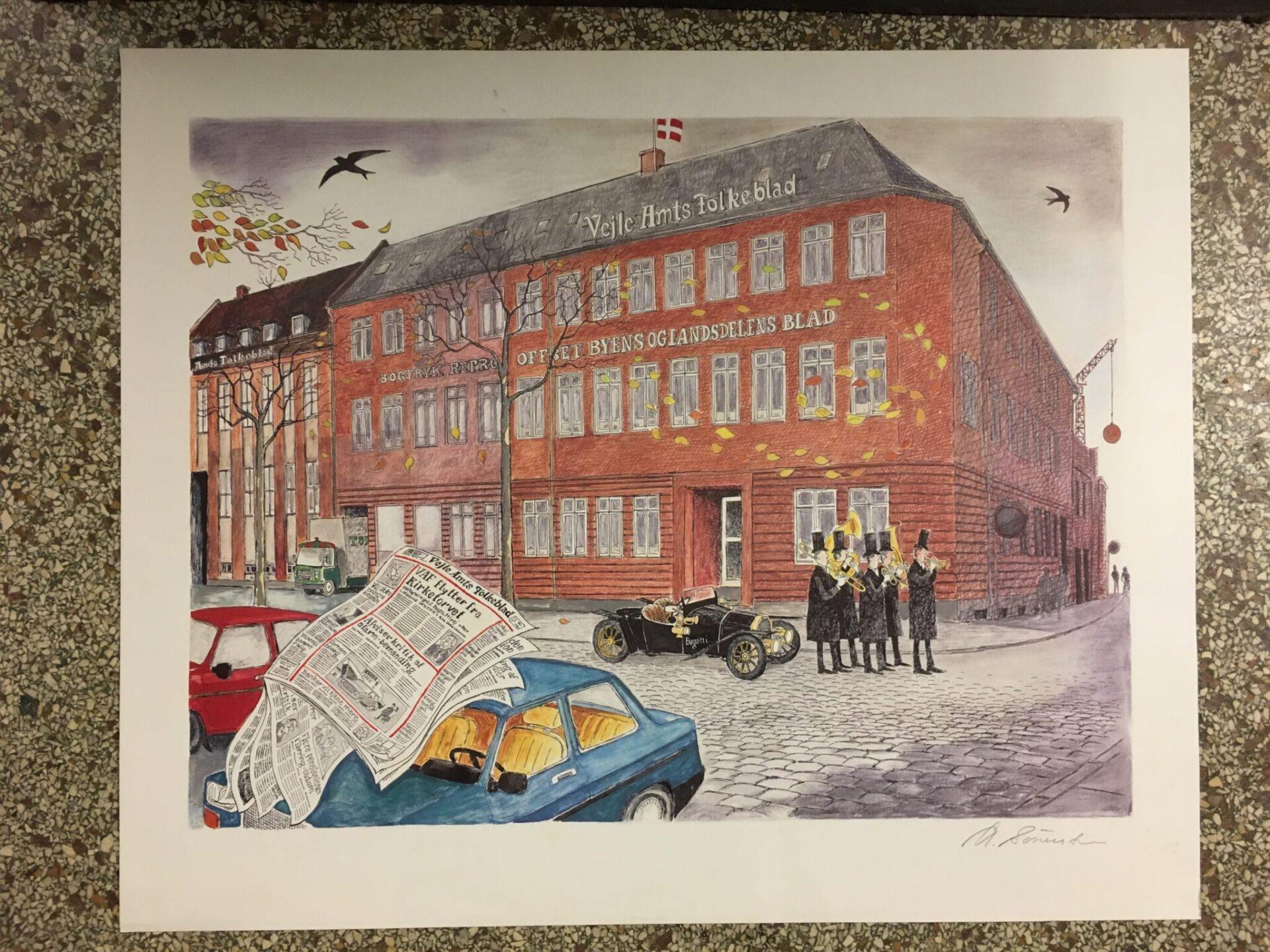 Vejle Amts Folkeblad, grafisk tryk, signeret Arne Sørensen, pris 200