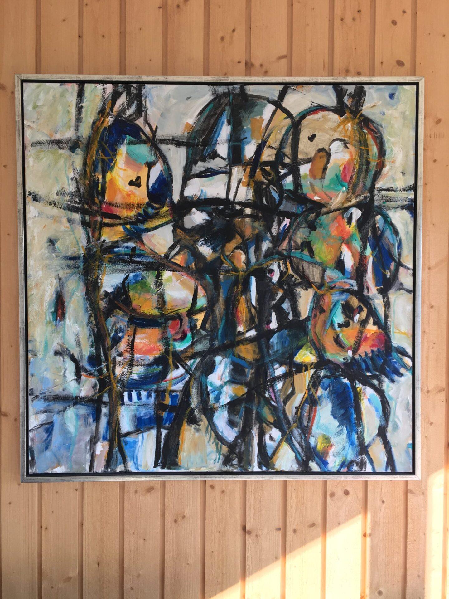 Stort abstrakt maleri sign Karen Hjort, 2011. Pris 2000kr