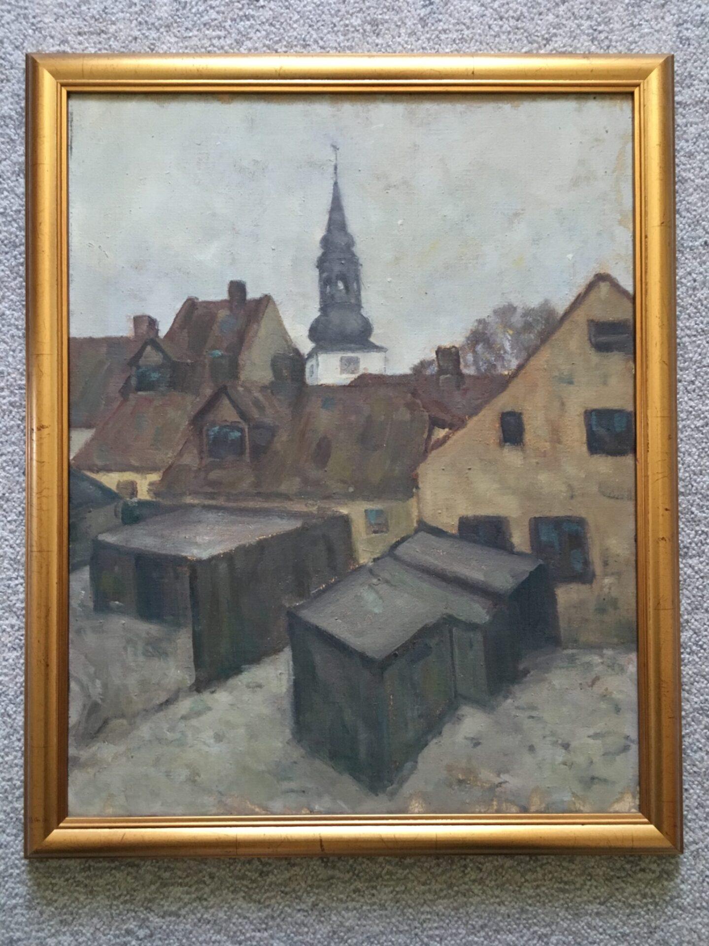 Det gamle Skolekvarter i Aalborg med Budolfi Kirke i baggrunden,