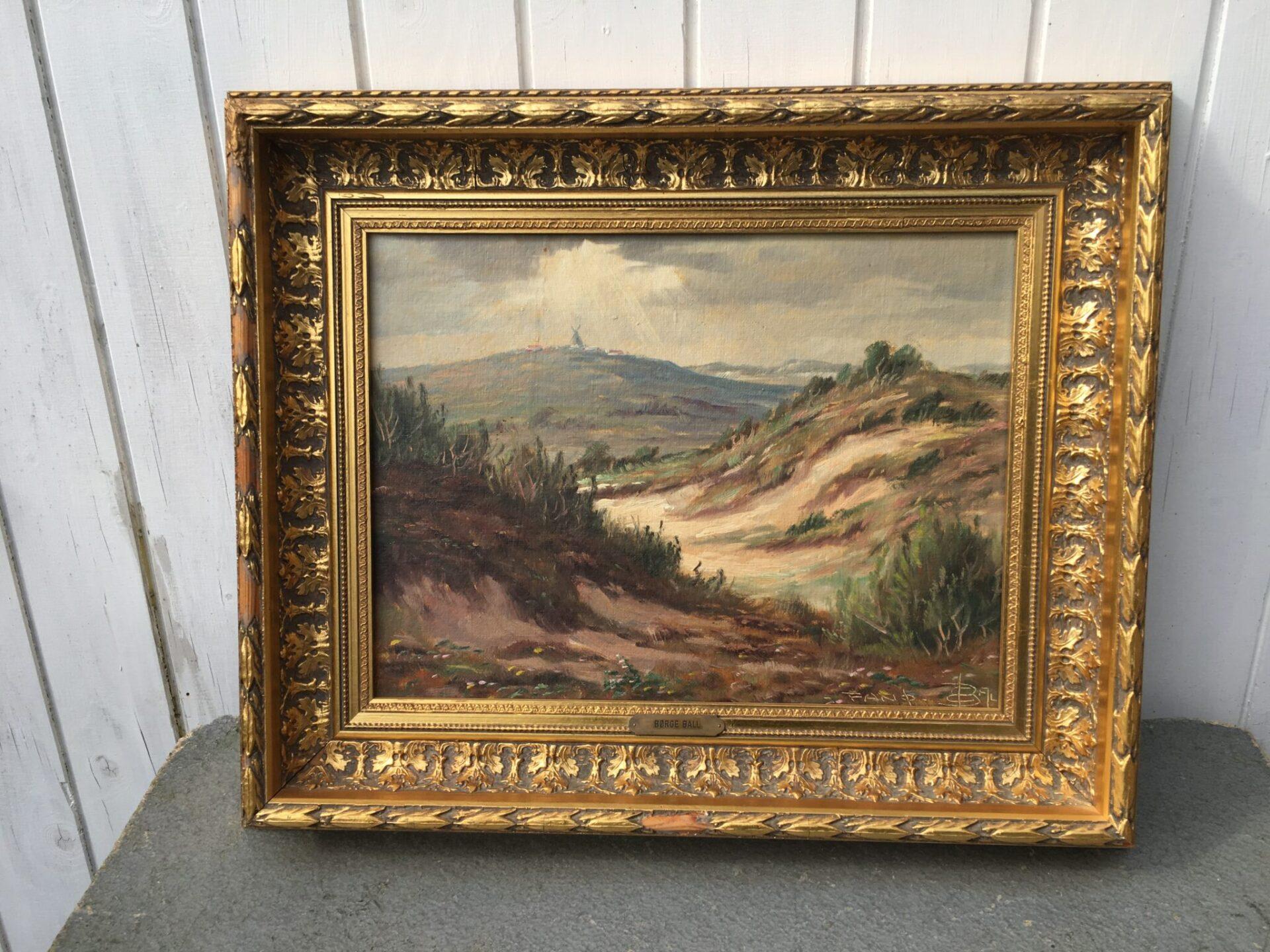 Børge Ball, maleri, motiv fra Fanø pris 400 kr. Rammemål 55 x47 cm  (Sønderho Mølle)