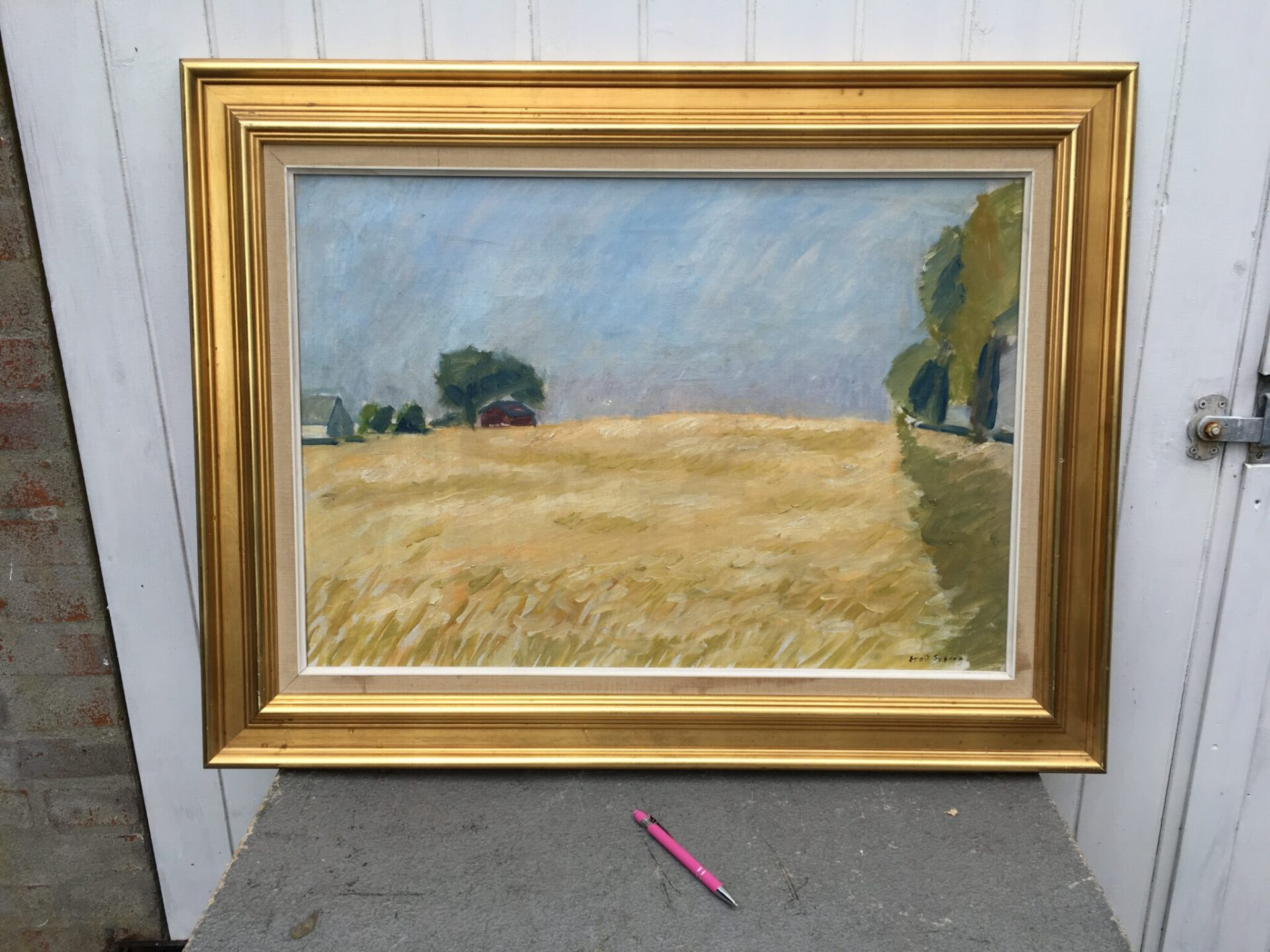 Ernst Syberg, 88X70 cm incl. ramme, pris 1000kr