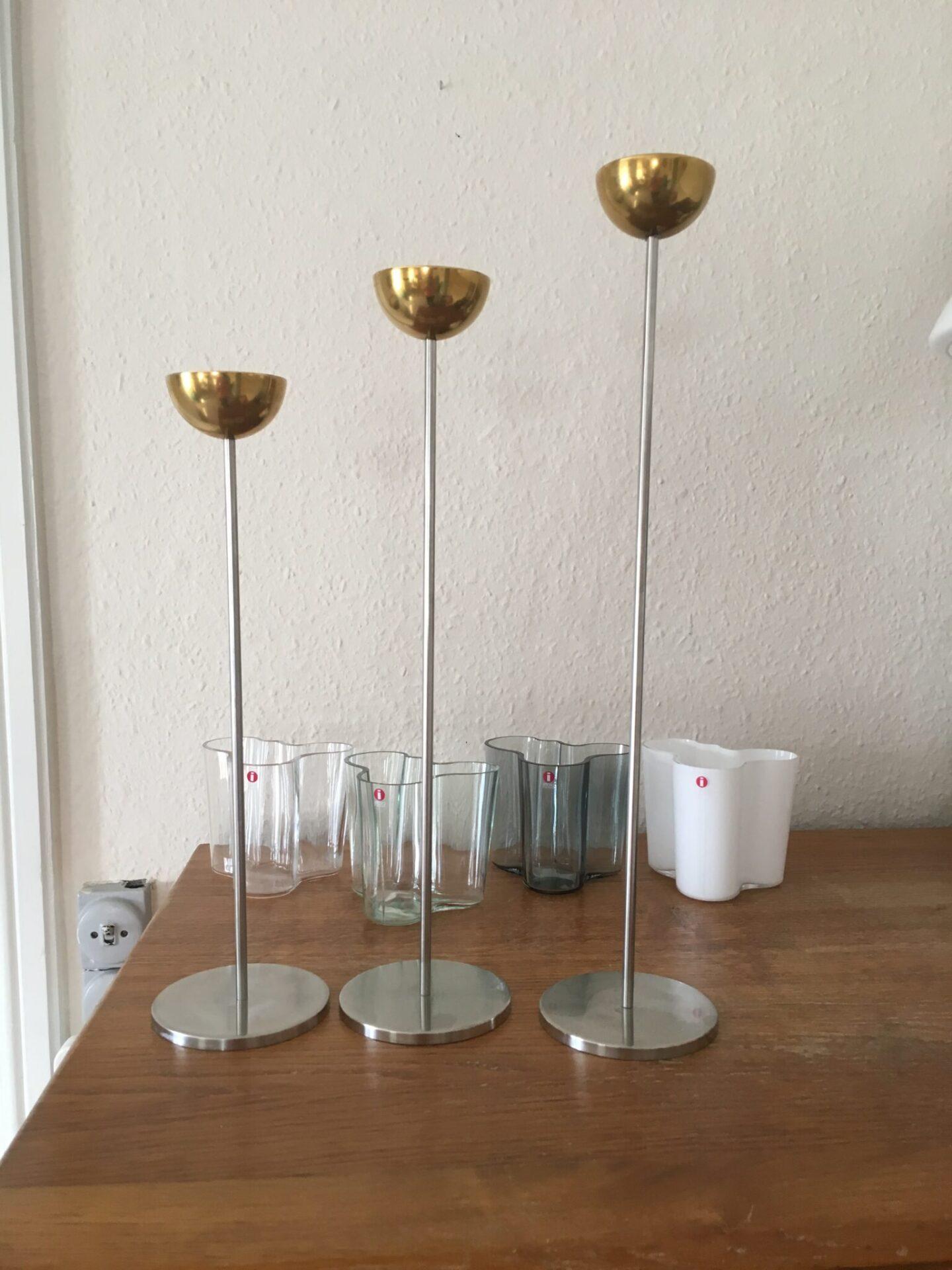 Stilling design, 3 stk lysestager (stål/messing), h= 33/38/43 cm sælges samlet for 500 kr. Meget vel