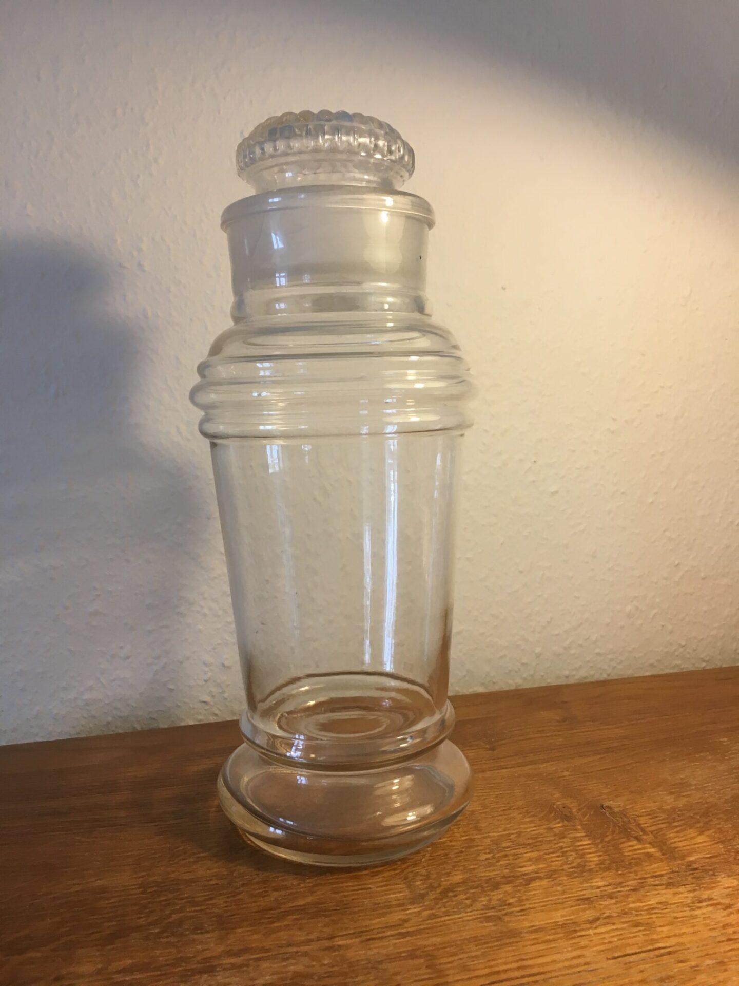 Gammelt bolcherglas, h= 35 cm, antageligt dansk, pris 400 kr