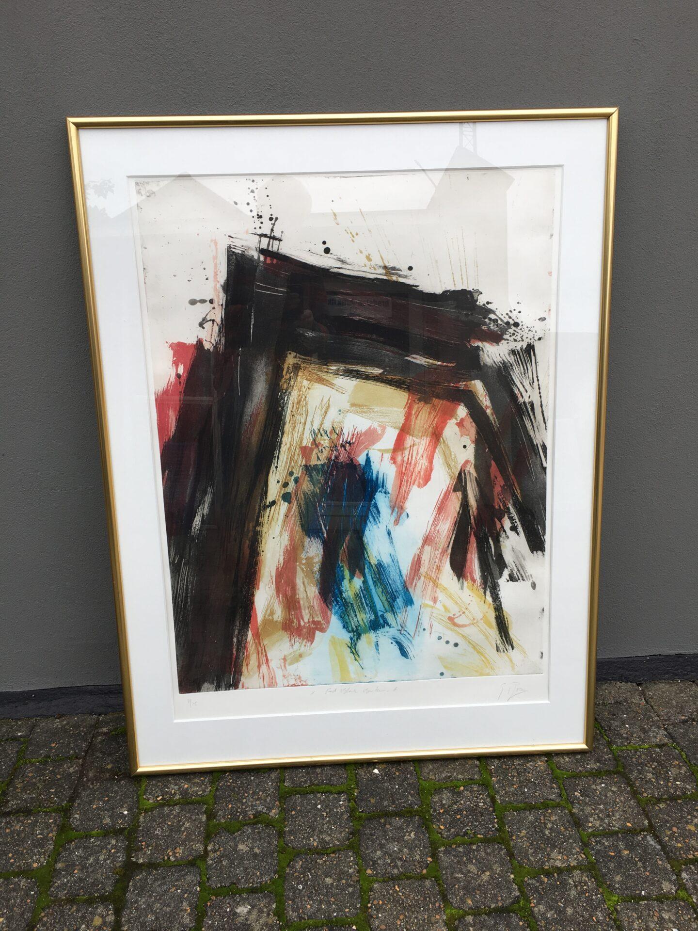 Stort dansk Litografi, nr 7/25 (rammemål 95x127 cm) utydeligt signeret og betitlet, pris 800 kr