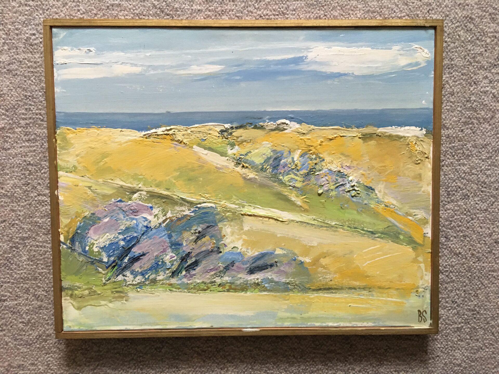 Maleri af Bendt Schneevoigt, rammemål 42x54 cm, pris 700 kr