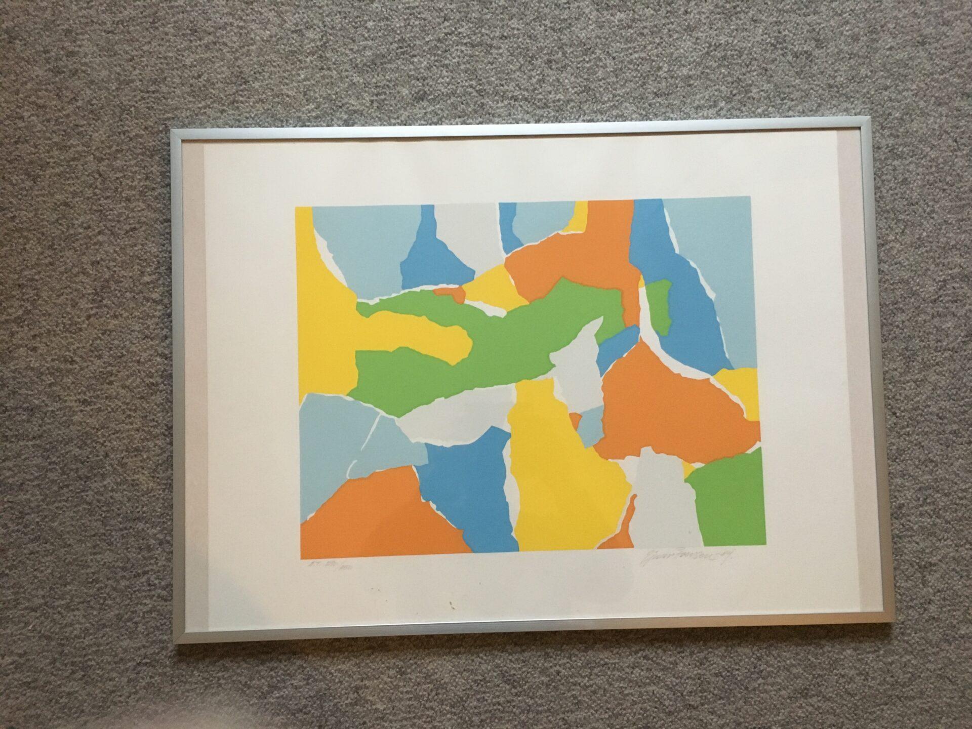 Ejnar Iversen Litografi, signeret i 84, Eget tryk, rammemål 50x70 cm, pris 300 kr