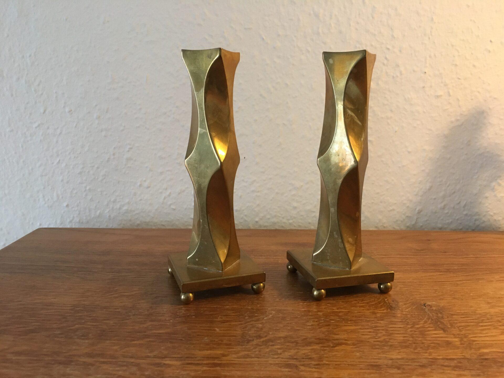 2 stk design messing lysestager, mrk