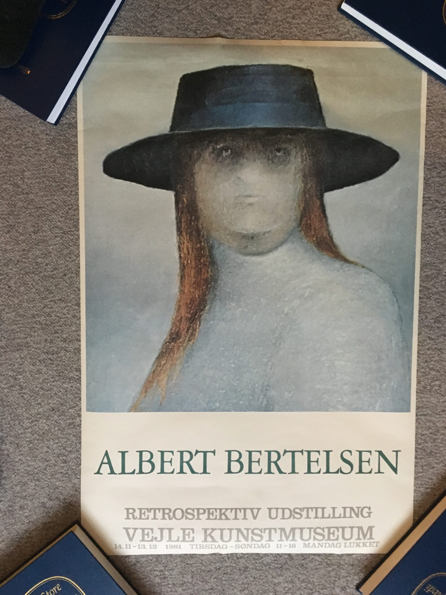 Albert Bertelsen retrospektiv udstilling 1981, uindrammet rullet plakat,  60x90 cm, pris 300 kr