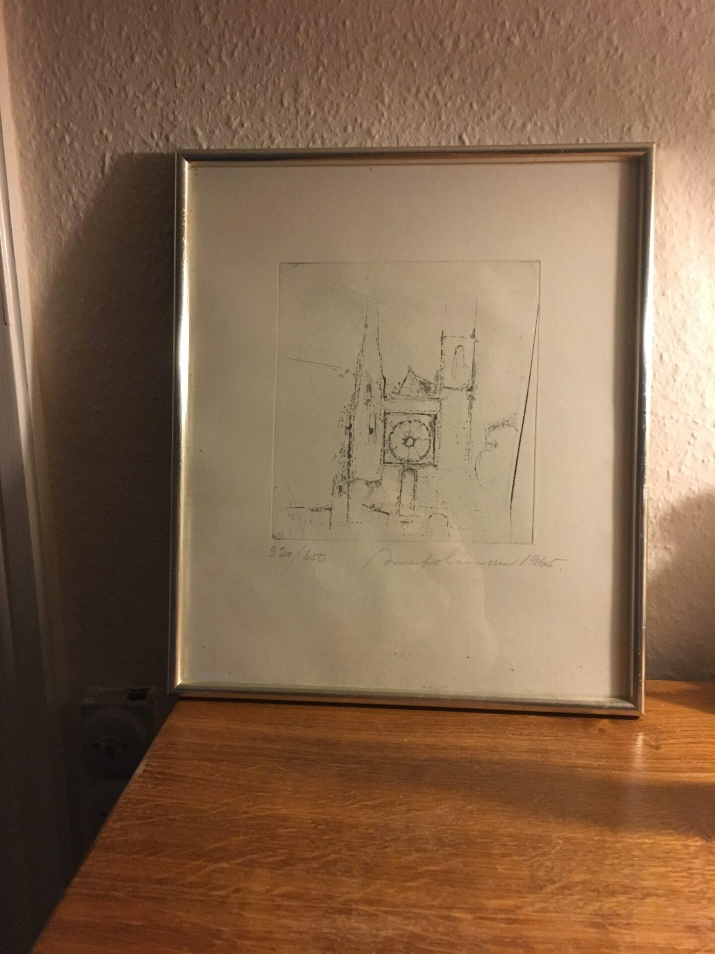 Arne Johannessen, litografi nr 320/650, Sens cathedral, fin sølvramme, pris 300 kr