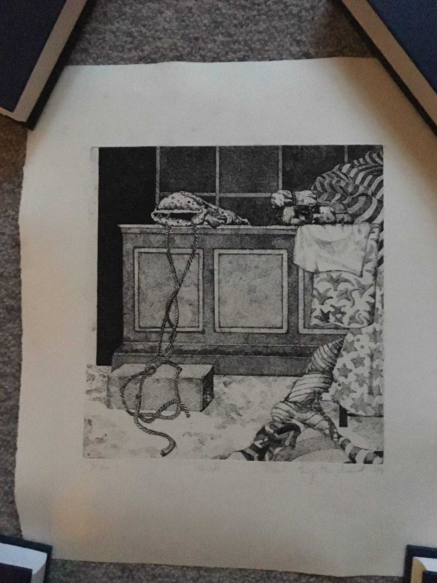 Karen Birgitte Lund, signeret litografi nr 4/70, pris 200 kr (32x38 cm, uindrammet, rullet)
