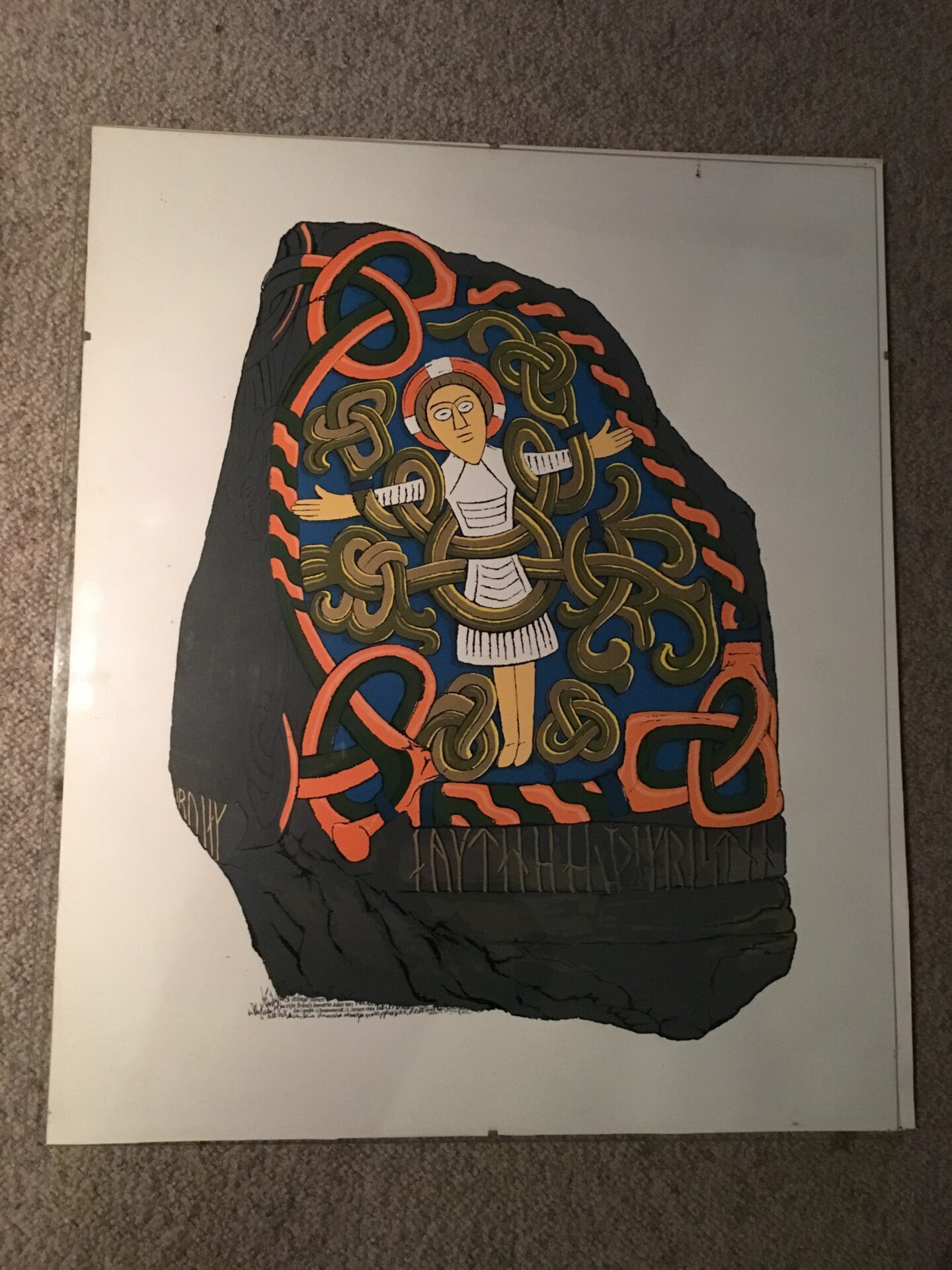 Jelling stenen, kunsttryk, 60x50 cm, pris 200 kr