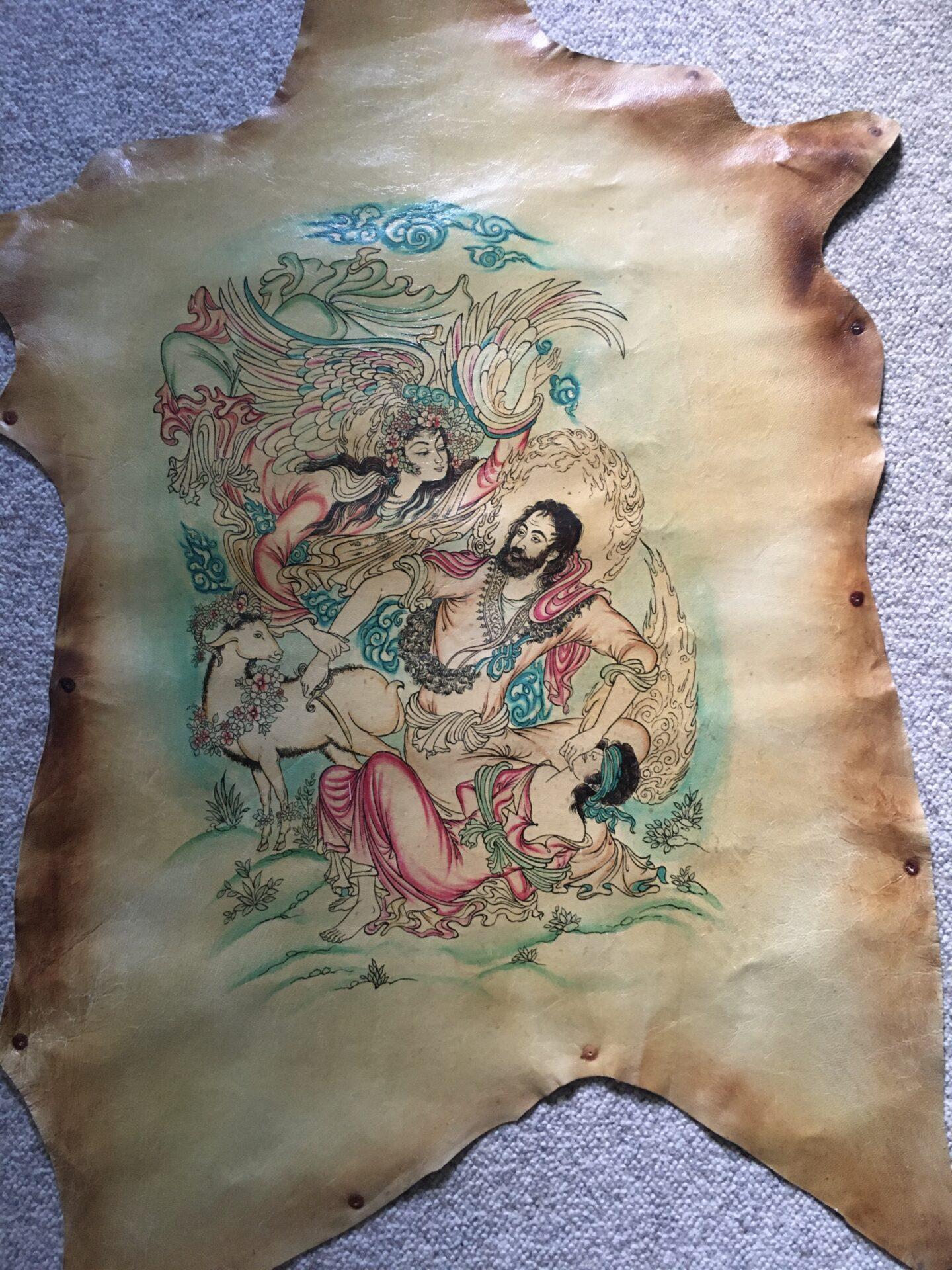 Bibelsk motiv malet på et gedeskind. (ca 50x60 cm). Abraham skal ofre sin søn Isak. pris 400 kr