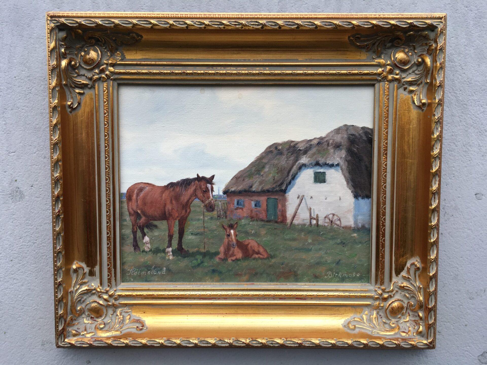 Maleri fra Holmsland, sign. Birkmose, pris 800 kr