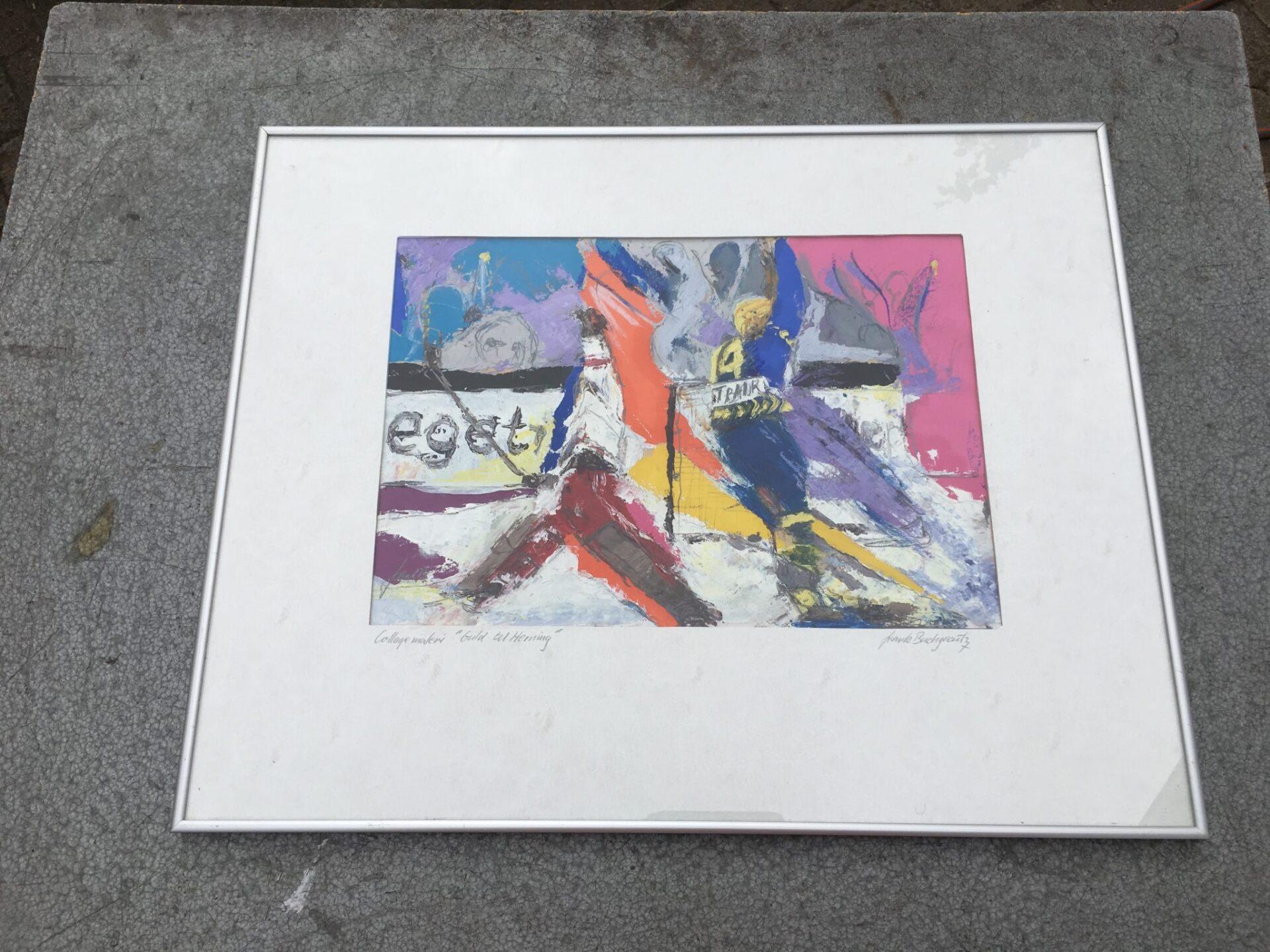 Frank Buchgraitz, collage maleri, 500 kr