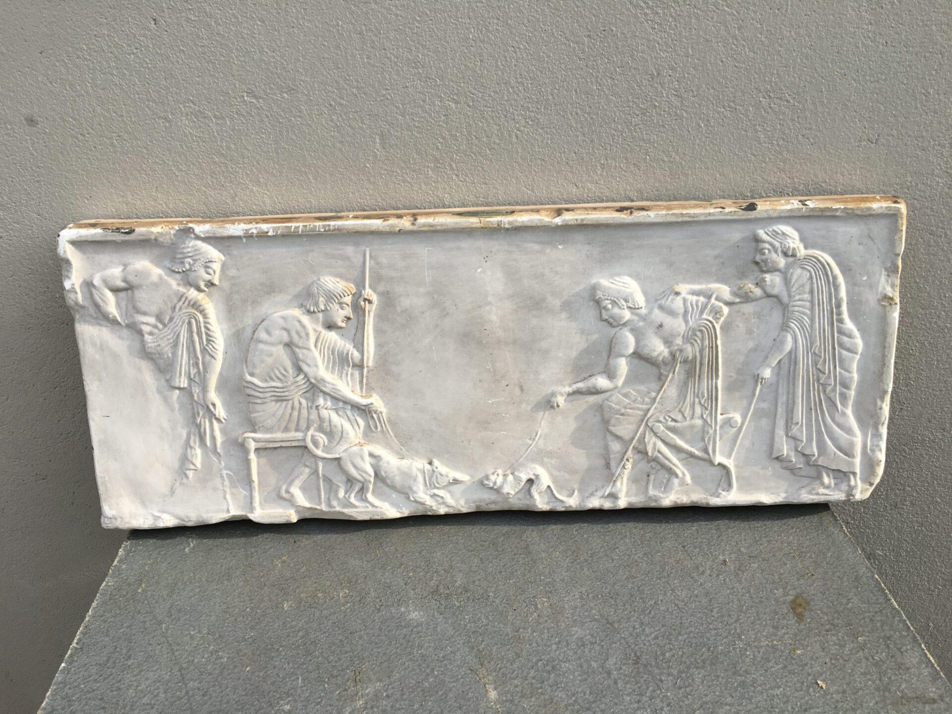 Antikt gipsrelief, pris 1000 kr