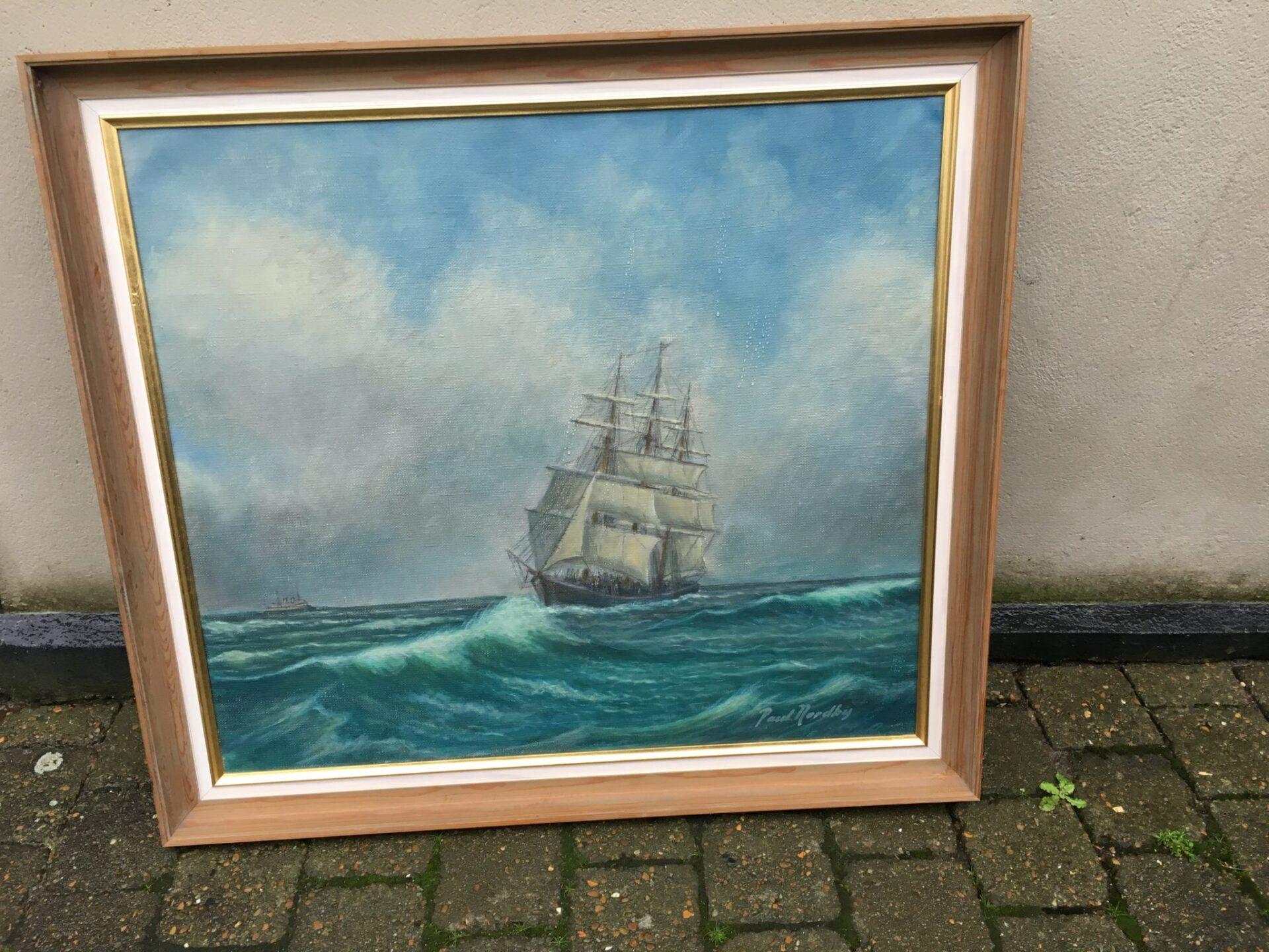 Marine maleri sign Poul Nordby, pris 200kr