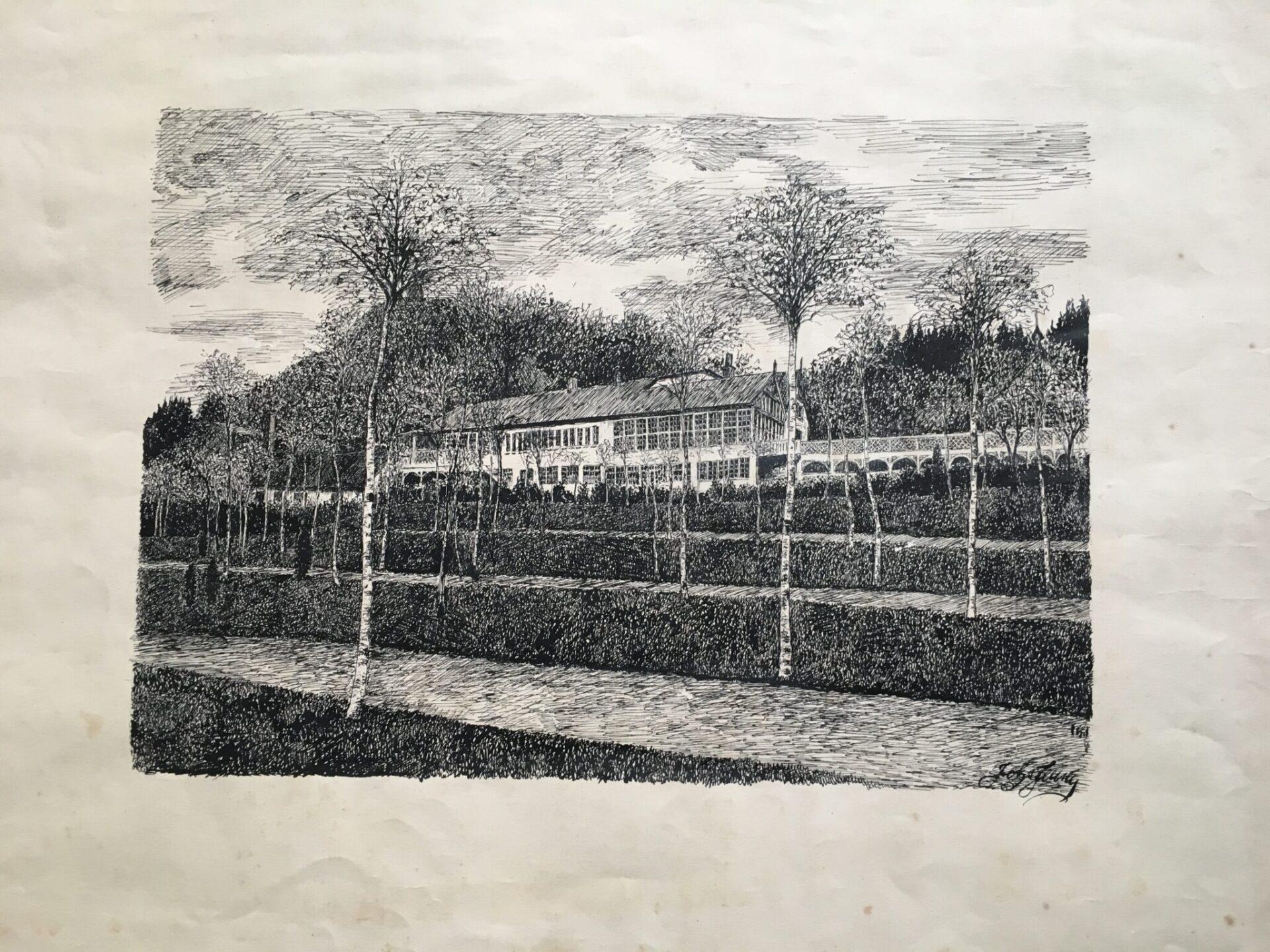 Tuschtegning af Trædballehus, Vejle (bladstørrelse 60x50 cm), pris 200 kr