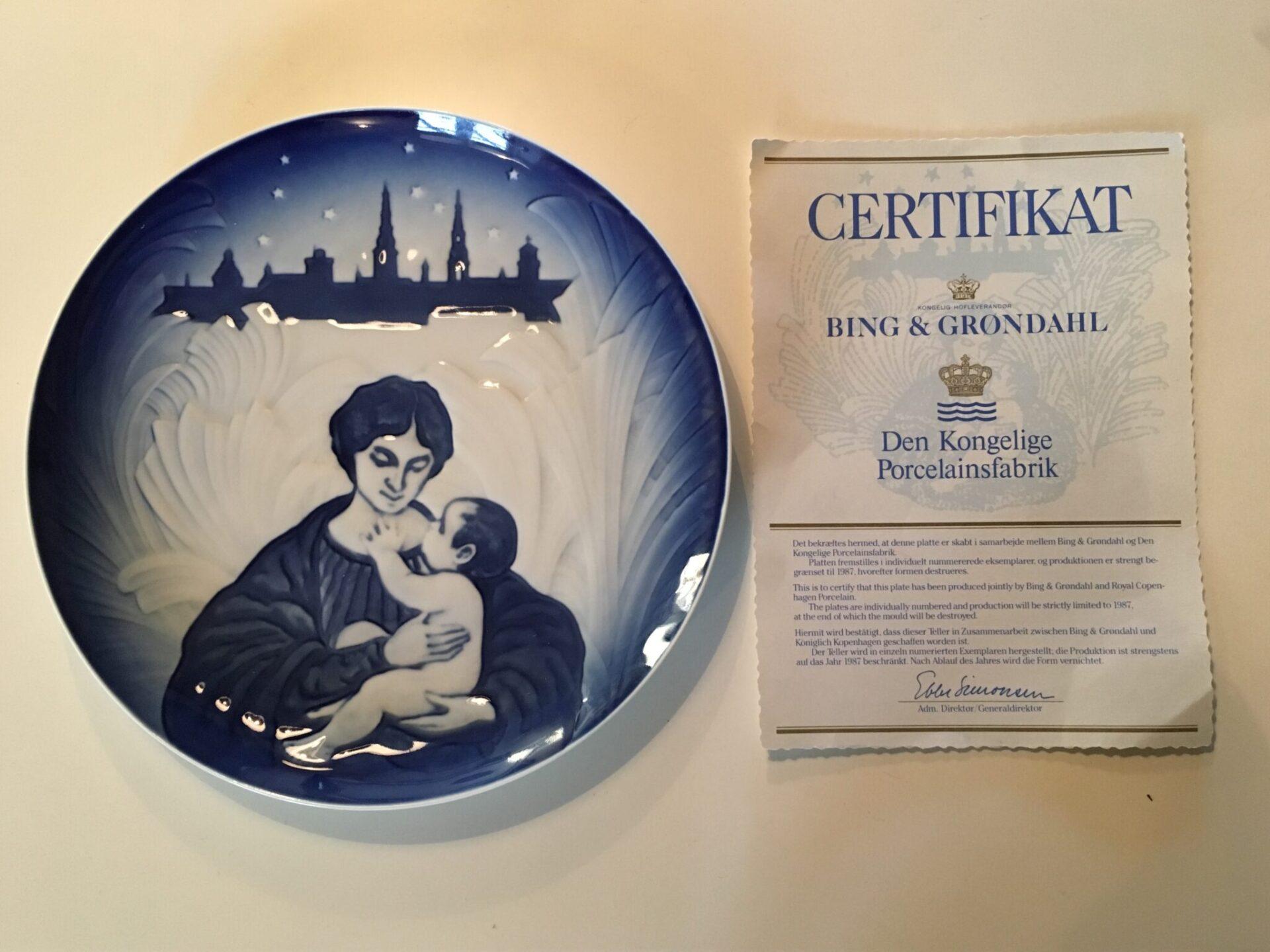 B&G fusion med den Kongelige porcelænsfabrik i 1987. Pris 100 kr