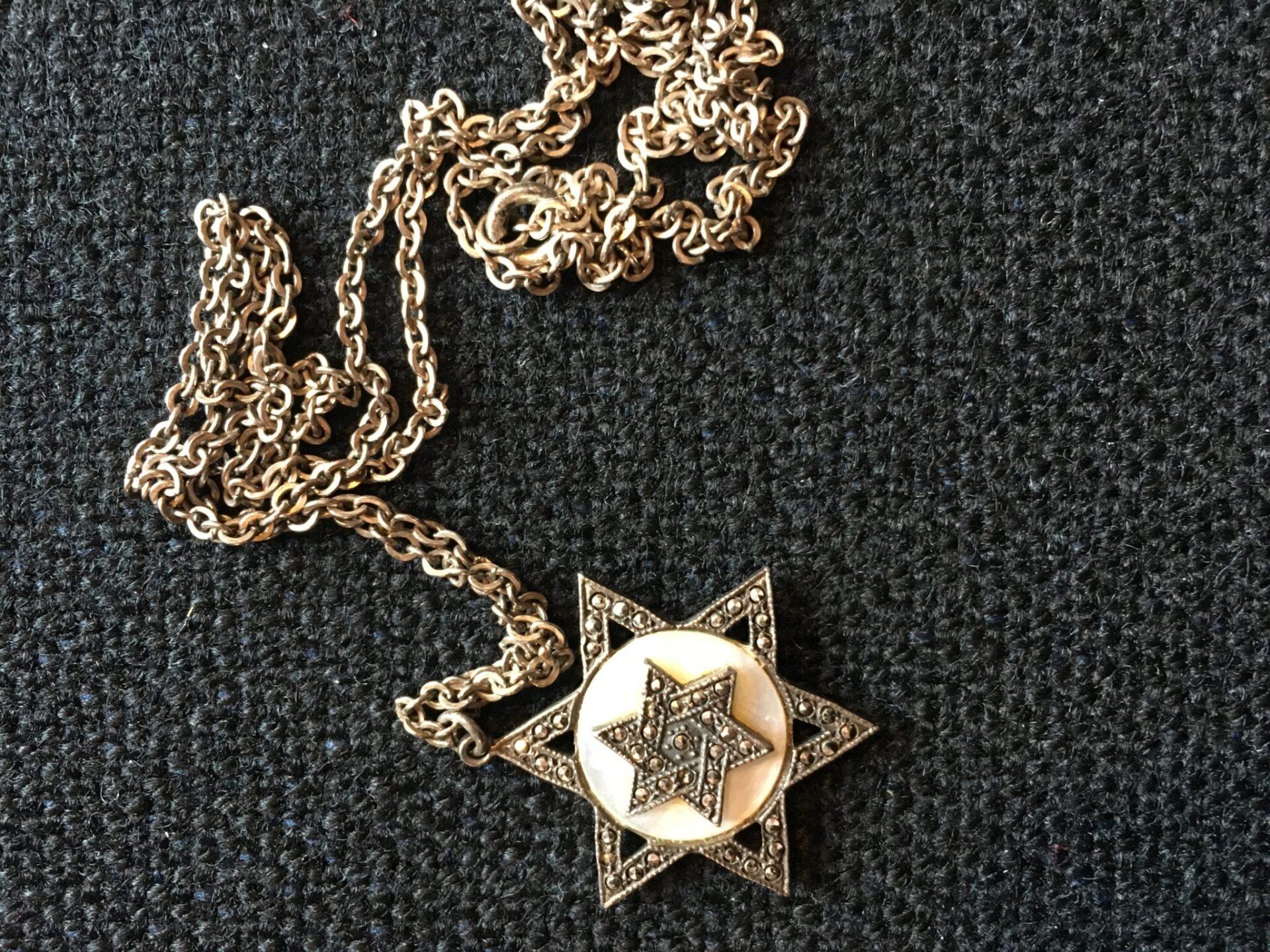 Davidsstjerne i sterling sølv, pris 200 kr