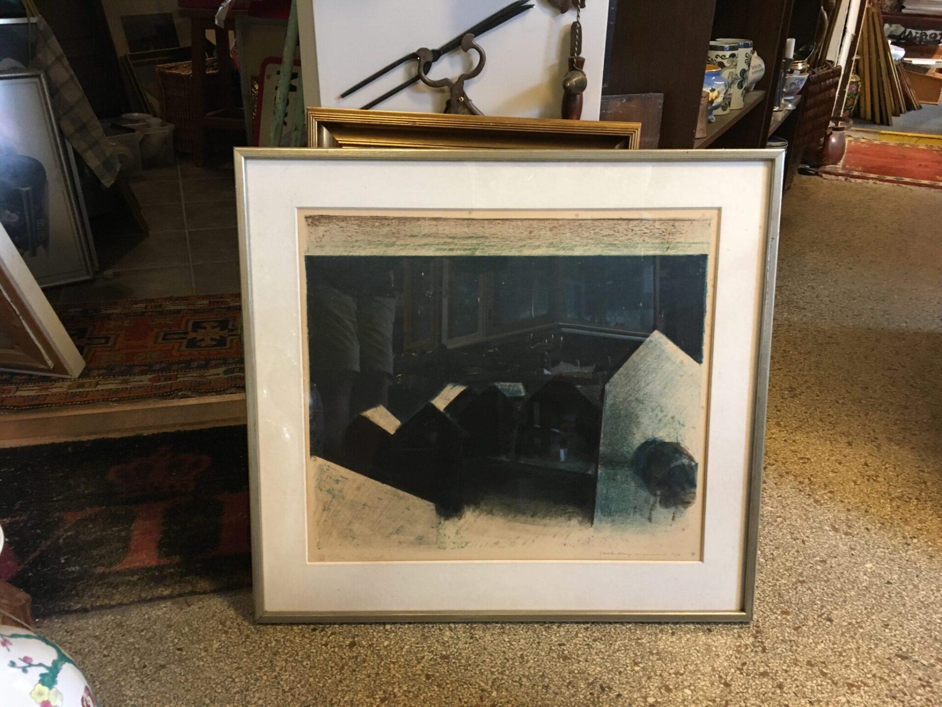 Jack Kampmann, litografi nr115/300, Færøerne, Kvivik, signeret i 1980, pris 600 kr
