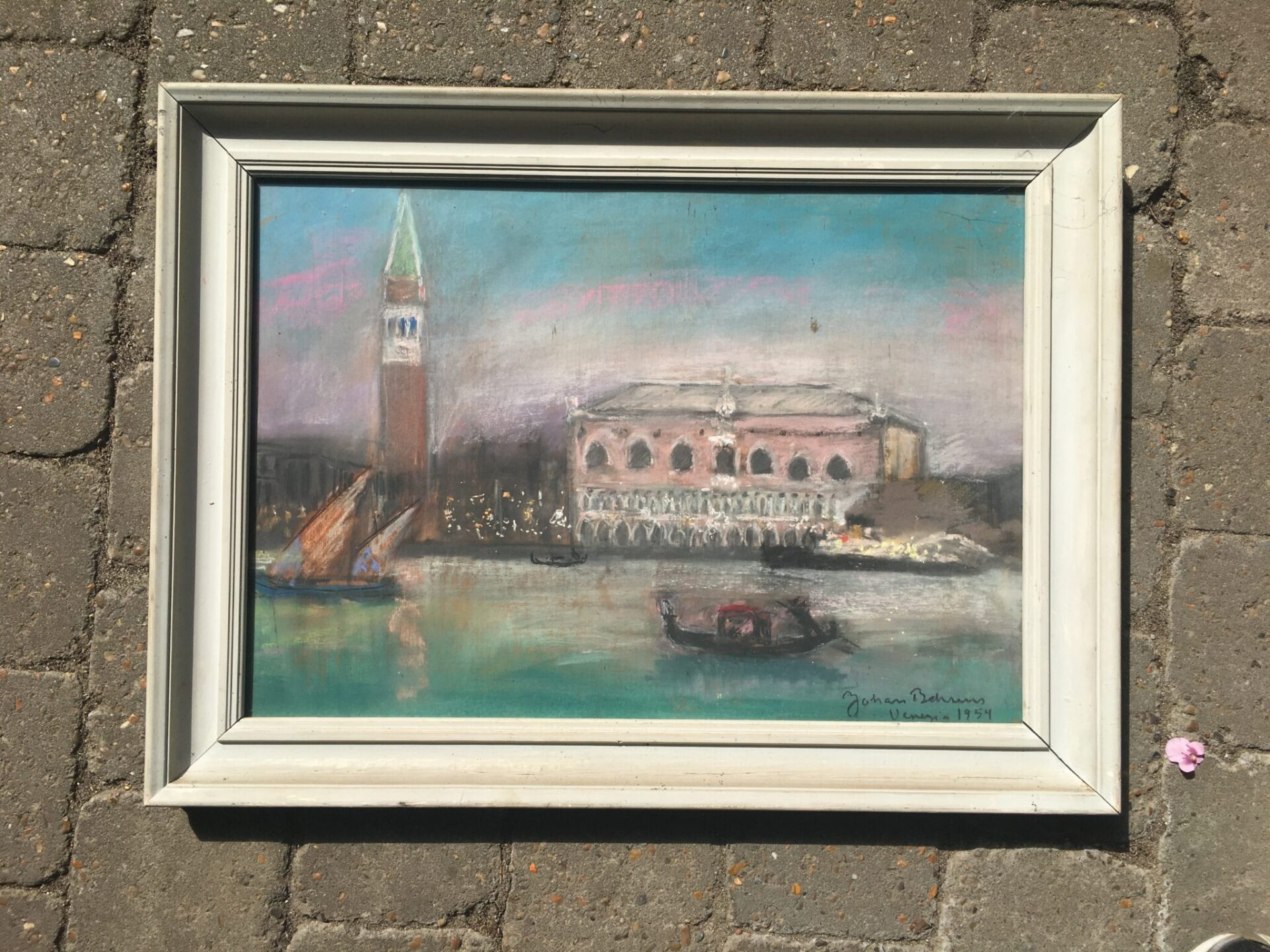 Johan Behrens, Venedig 1954, pastel/kridt,(45 x 60 cm). pris 500 kr
