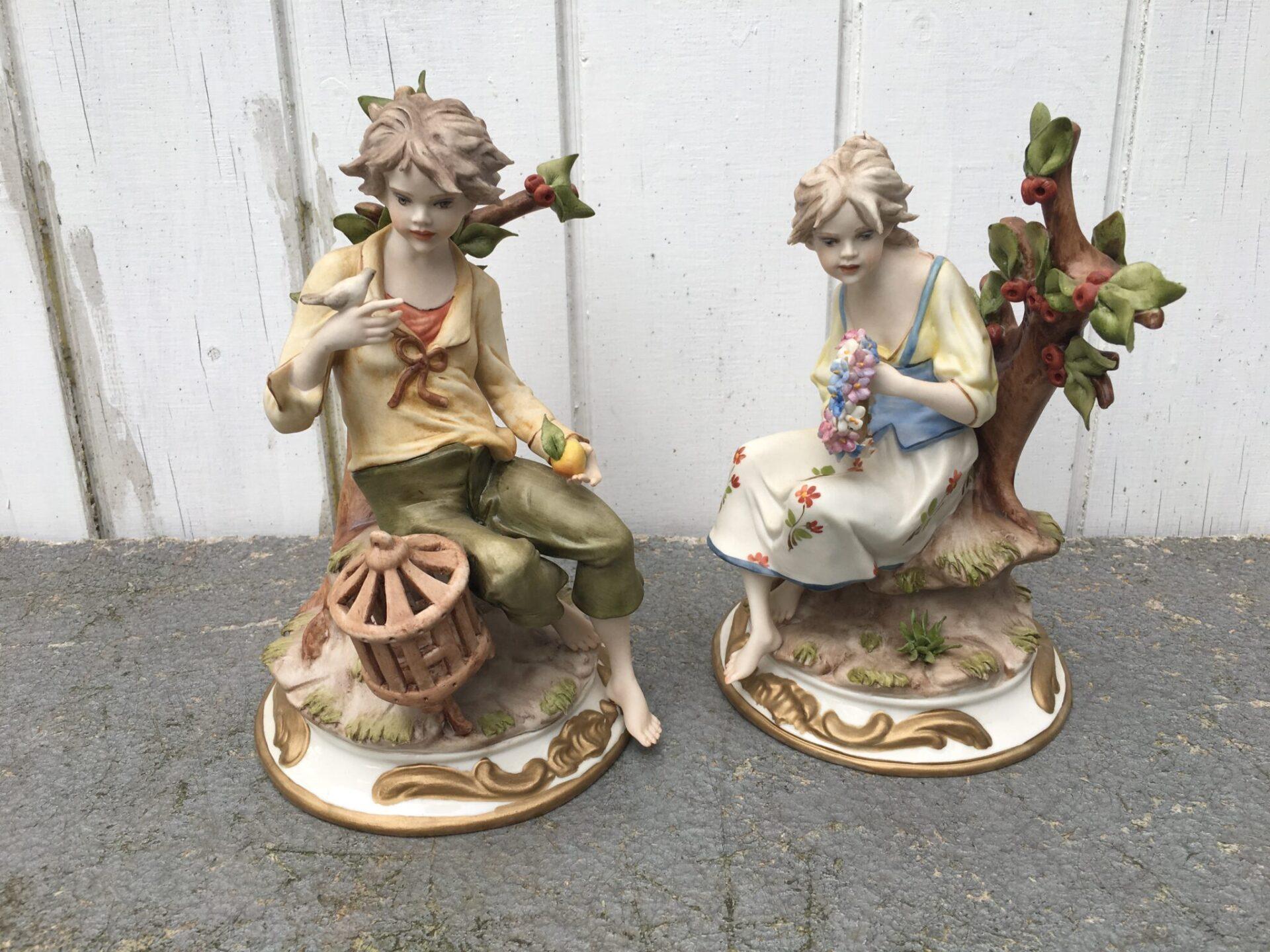 2 stk italienske porcelænsfigurer stemplet
