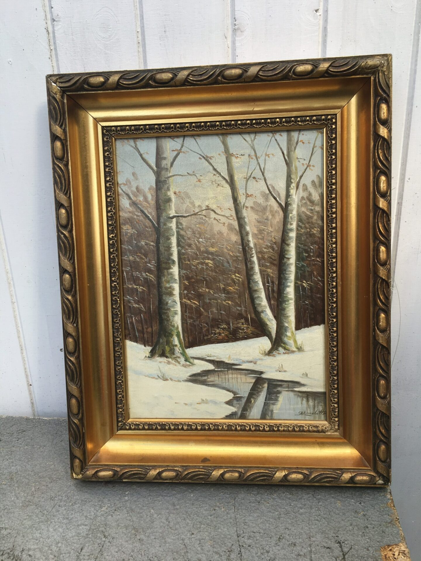 Vinterlandskab, utydeligt signeret (36x46 cm) pris 200 kr