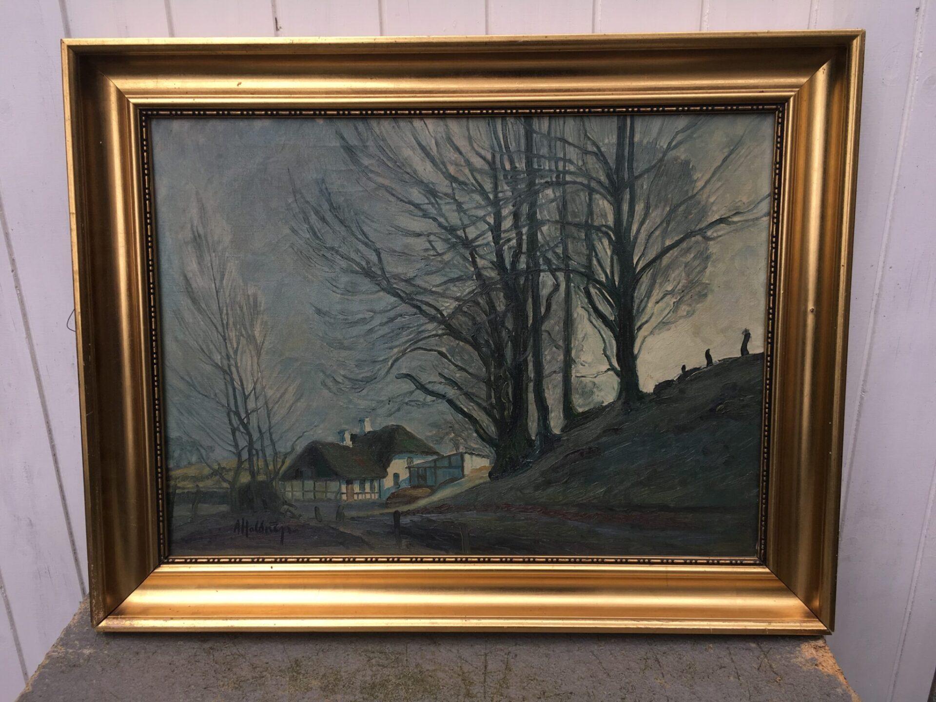 Axel Haldrup, Fredericia, velholdt maleri,(56x73 cm incl ramme). Pris 500 kr