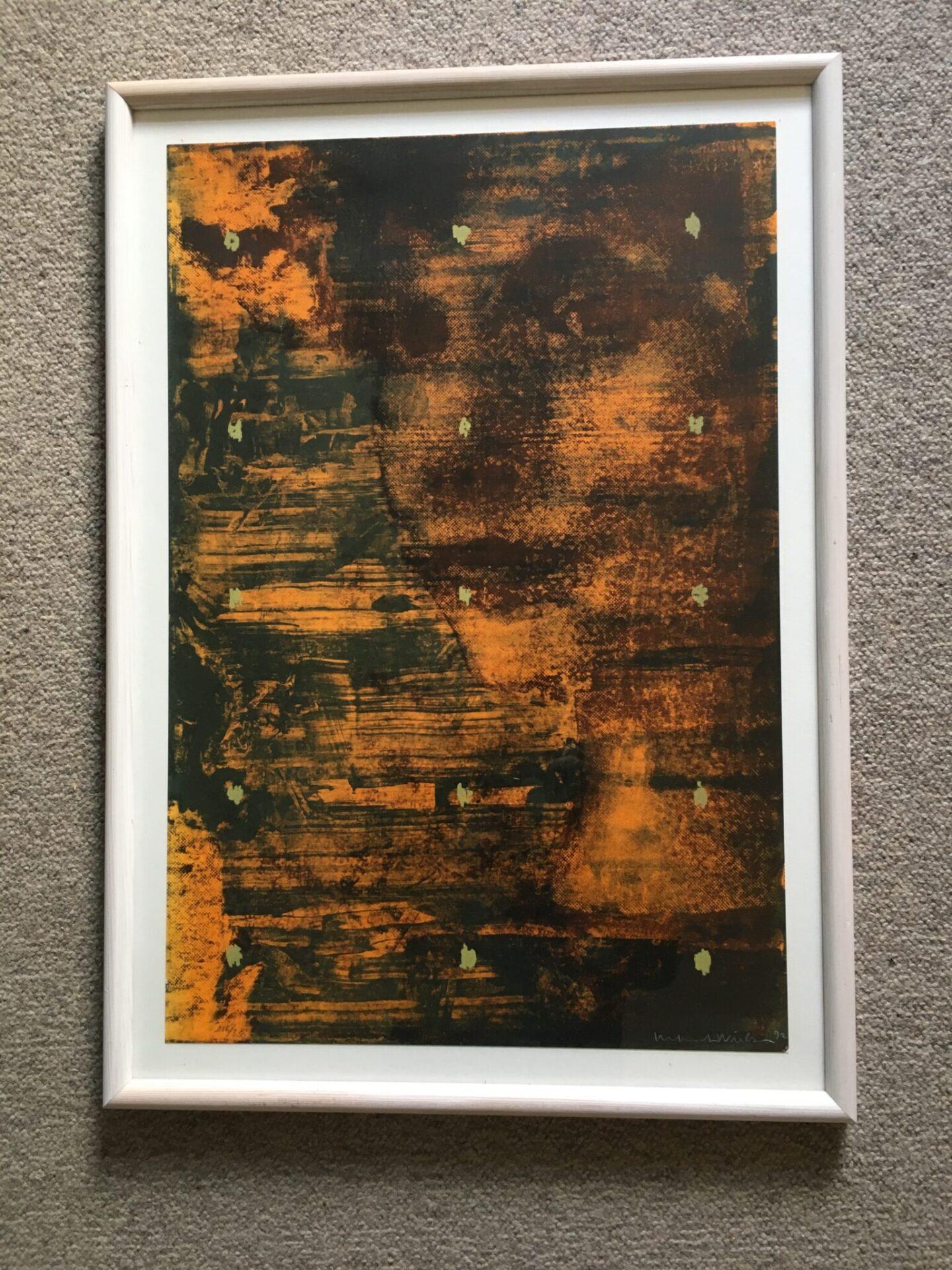 Kenneth Nielsen, Litografi nr. 216/350, signetert i 92, rammemål 72x50 cm, pris 300 kr