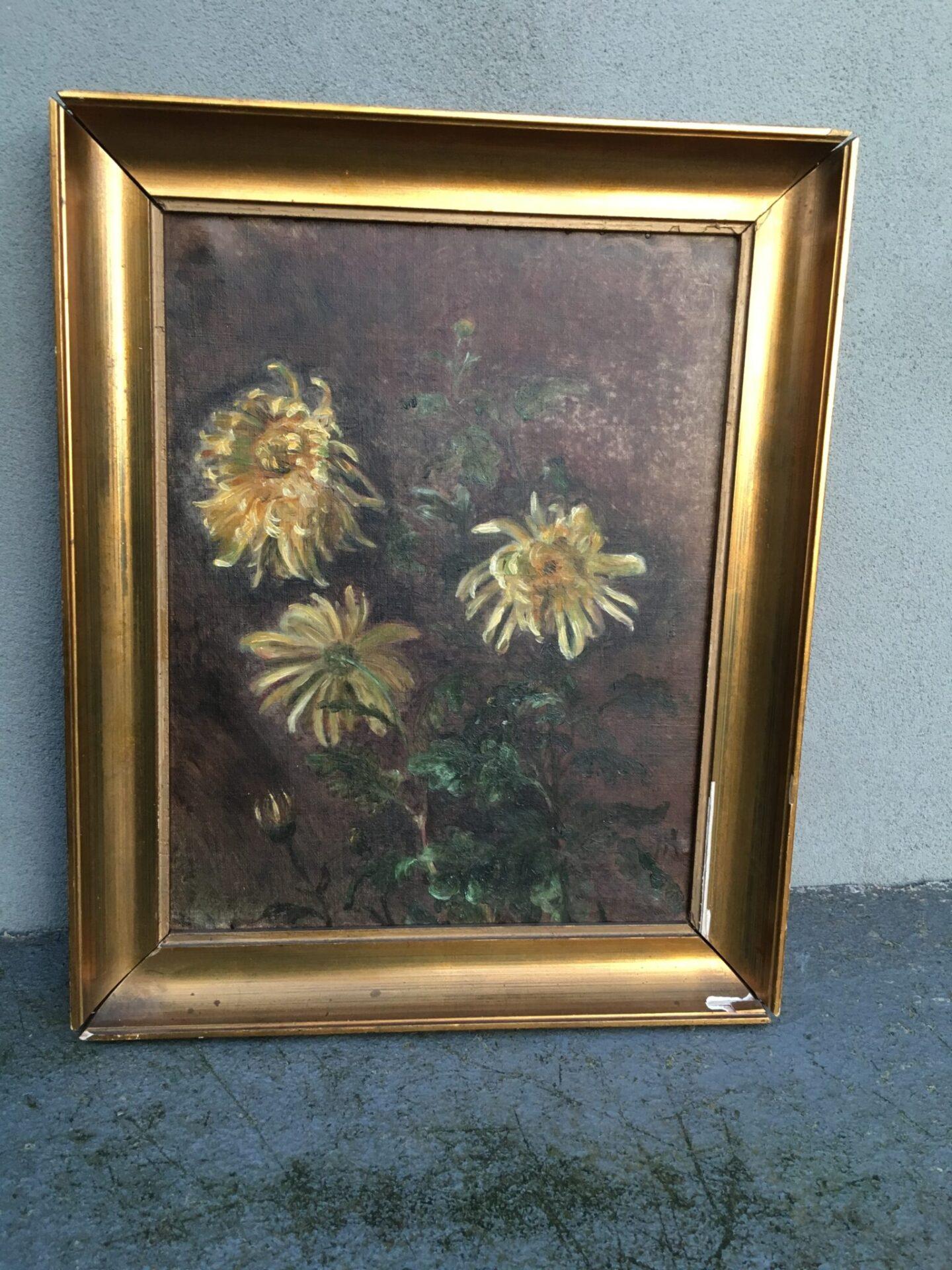 Lille fint lille blomstermaleri, 37x46 cm, ingen signatur, pris 300 kr