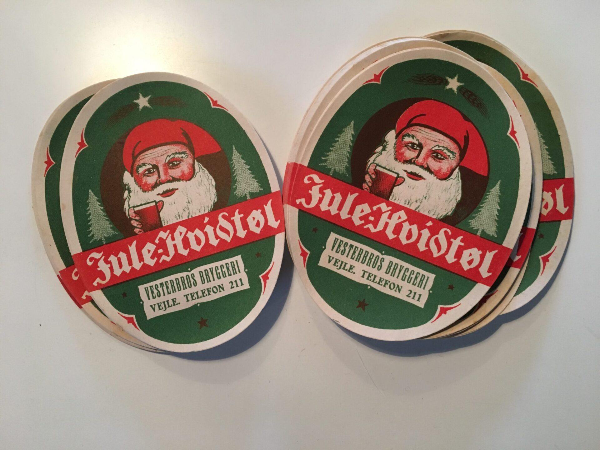 Ubrugte øl etiketter fra hedengangne Vesterbros Bryggeri, Vejle,  (ca 1950). pr. stk 5 kr