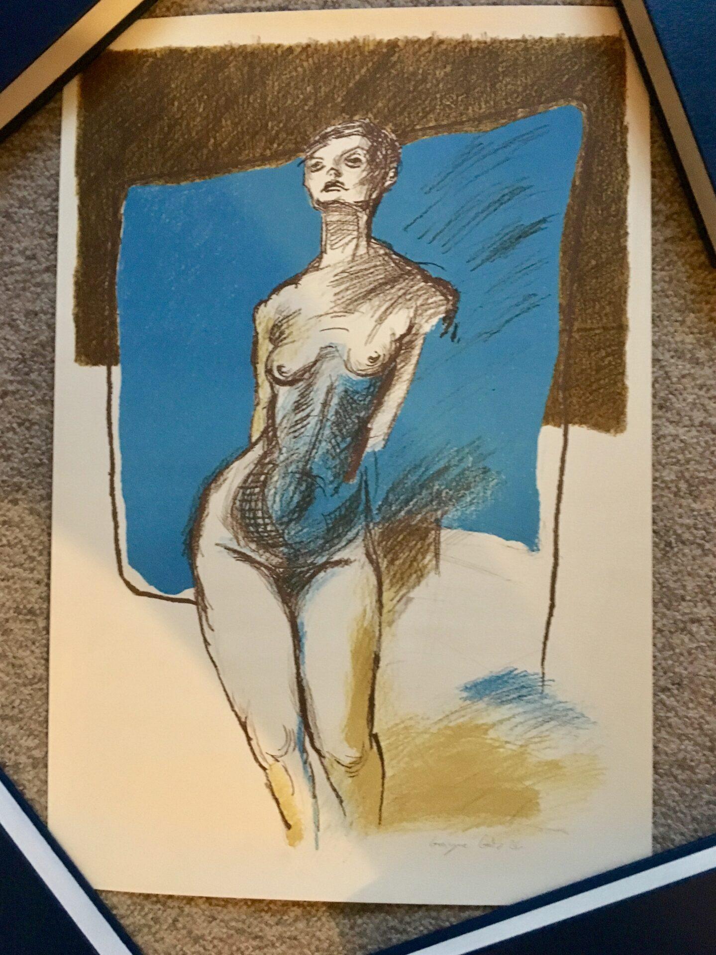 Grazyna Gotz, kunsttryk, signeret i 86, pris 200 kr (38x56 cm, uindrammet, rullet)