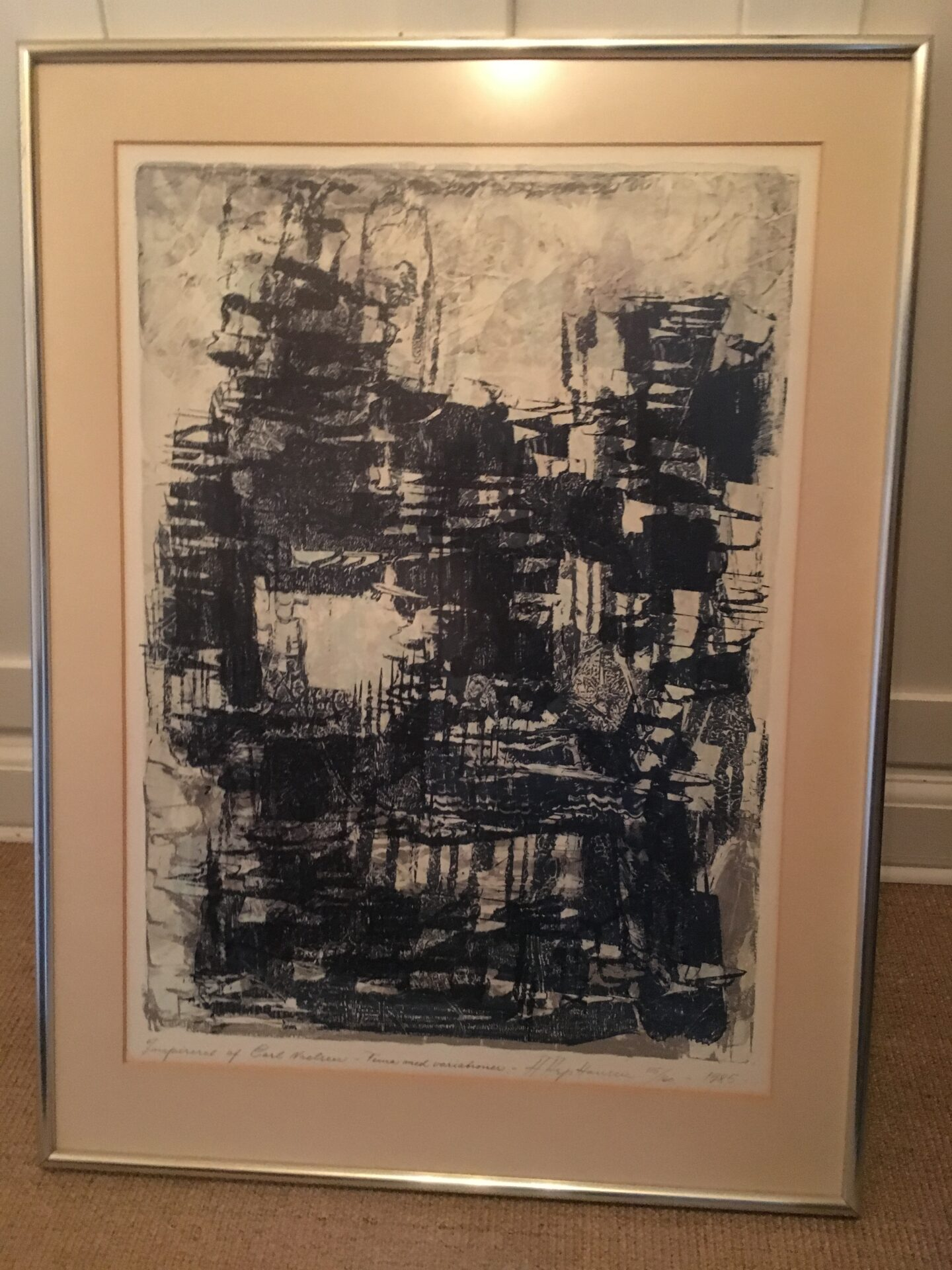 Litografi, A. Asp hansen, nr. 115/160 signeret i 1985, rammemål 65x88 cm, pris 500 kr
