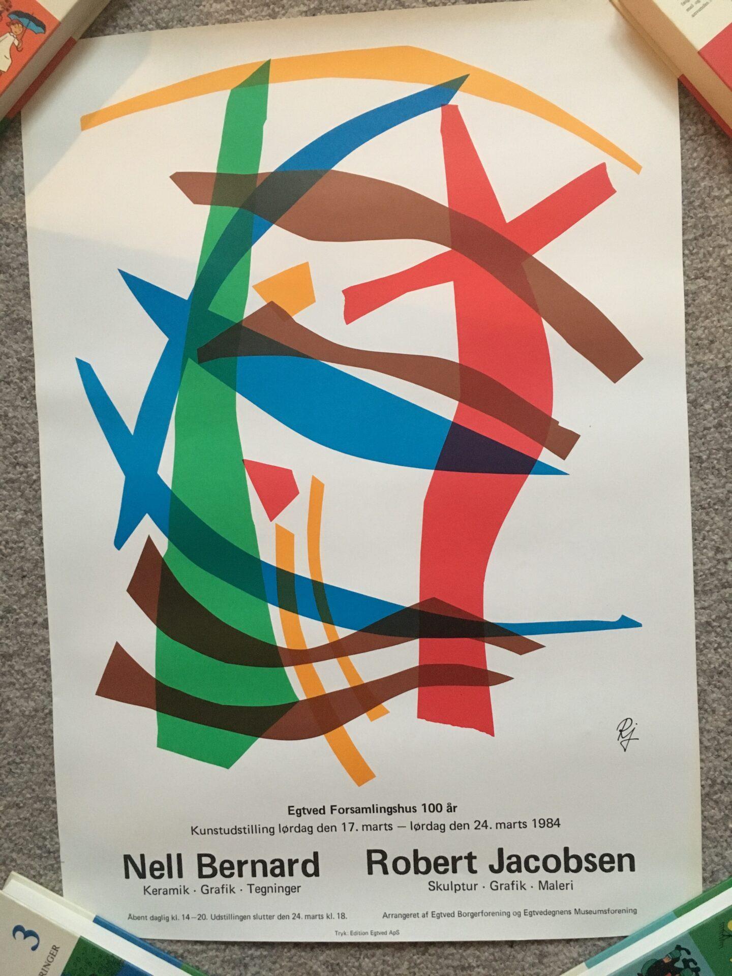Robert Jacobsen udstillingsplakat, 43x60 cm, pris 100 kr