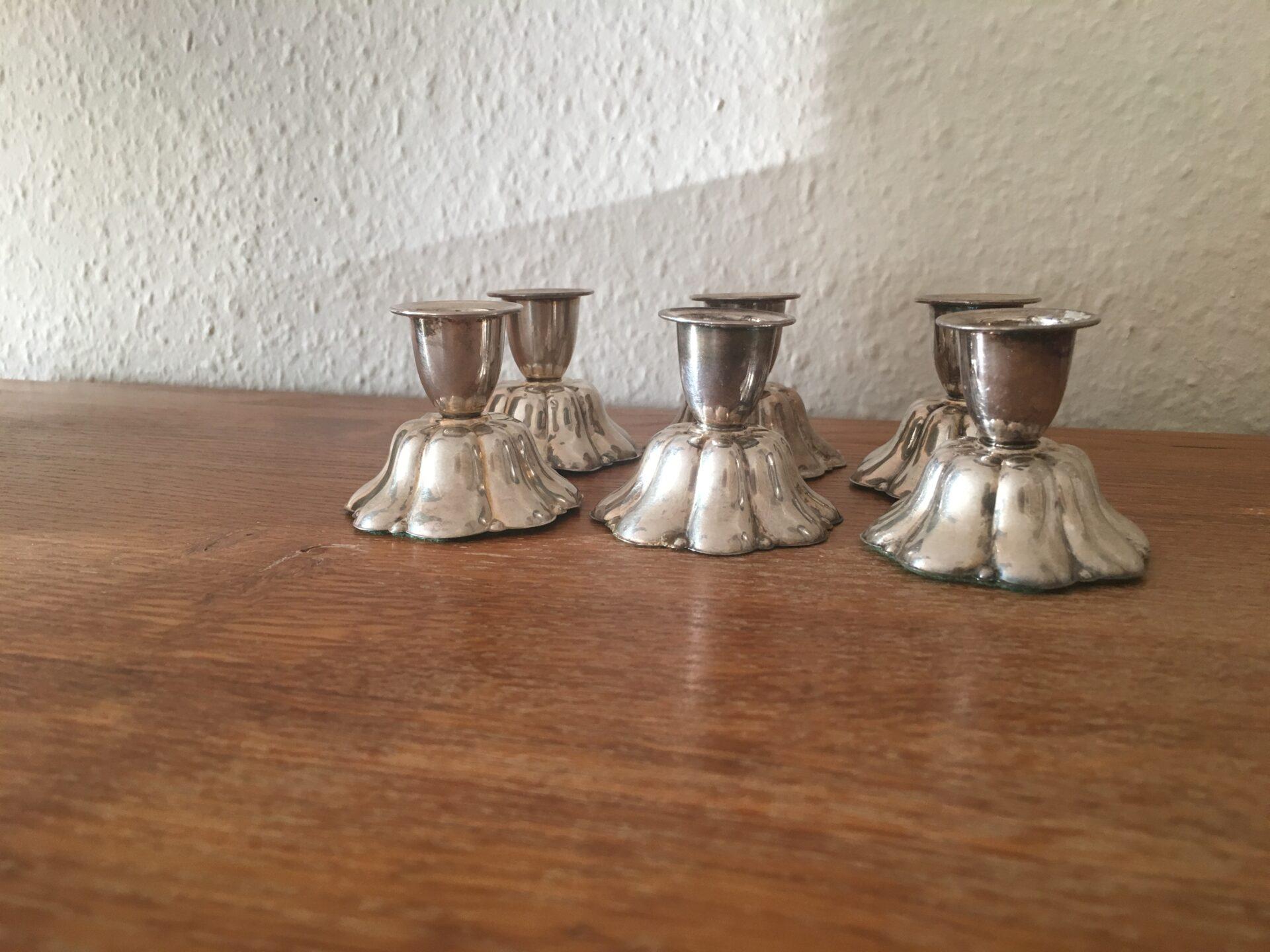 lysestager af Sterling sølv (925), h= 5 cm, pris pr. stk 200kr