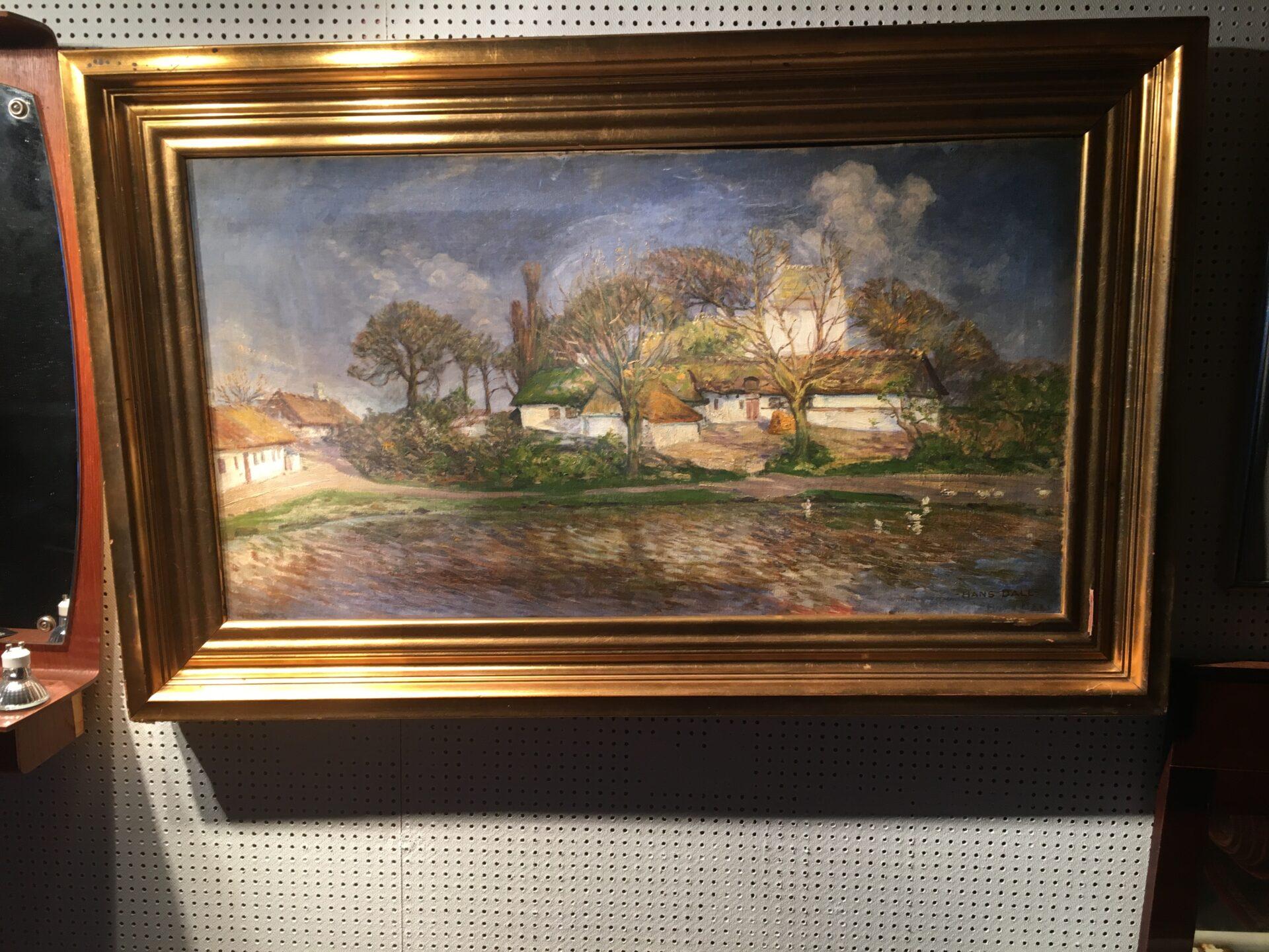 Maleri sign. Hans Dall, rammemål: 96x69 cm, pris 400 kr