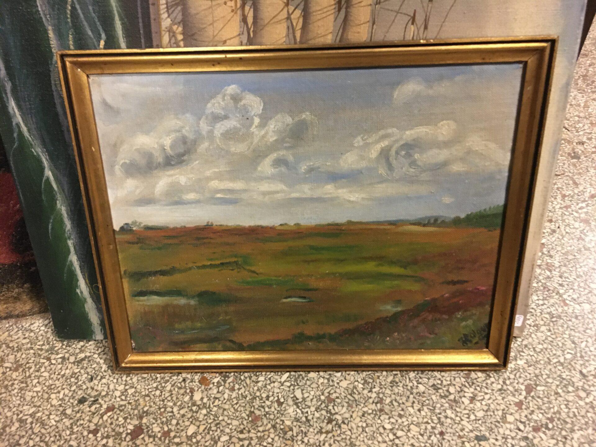 Bjerlev Hede 1940, lille fint maleri, pris 200 kr