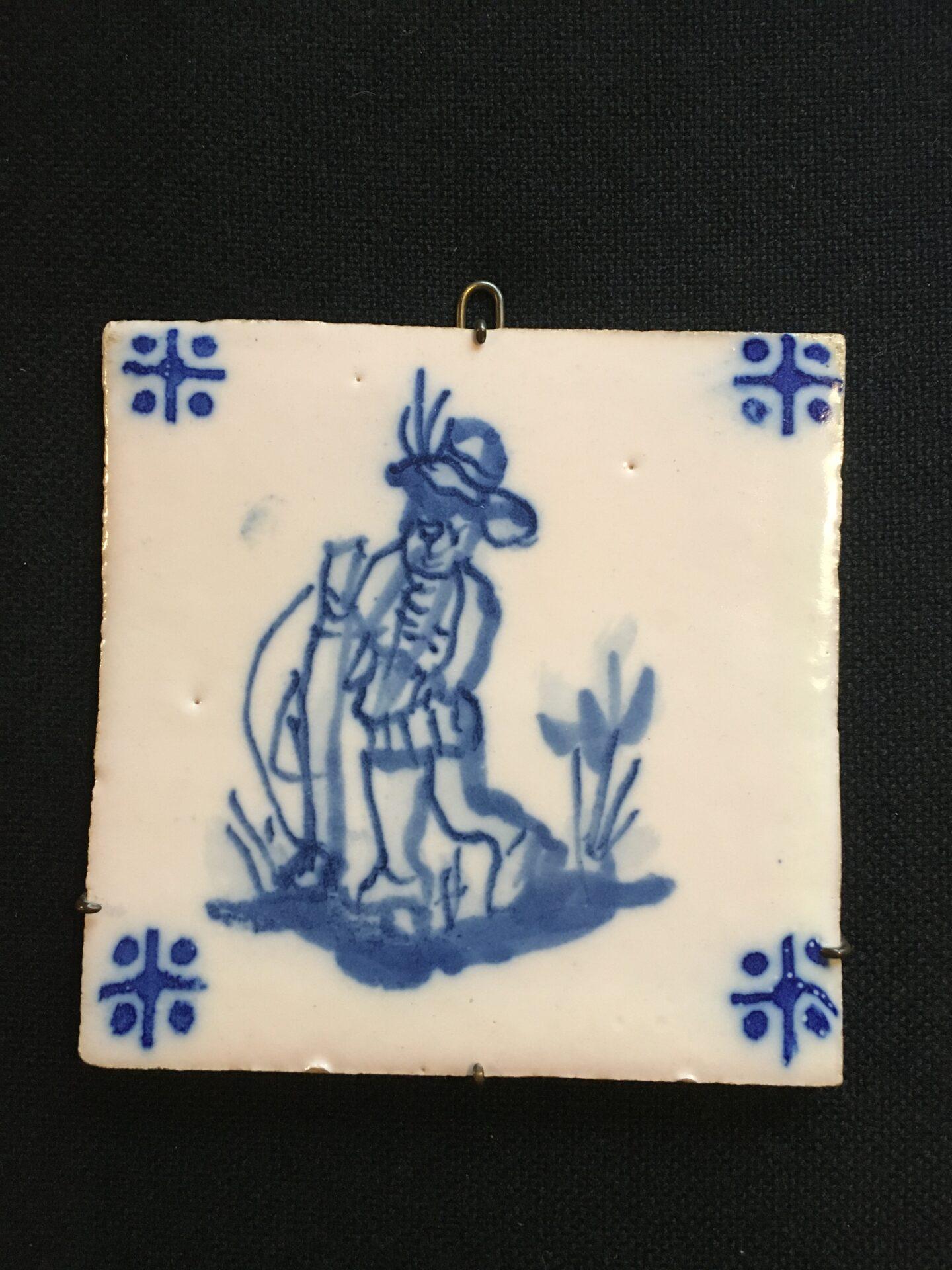Antik Hollandsk flise, ca 14x14 cm, pris 200 kr