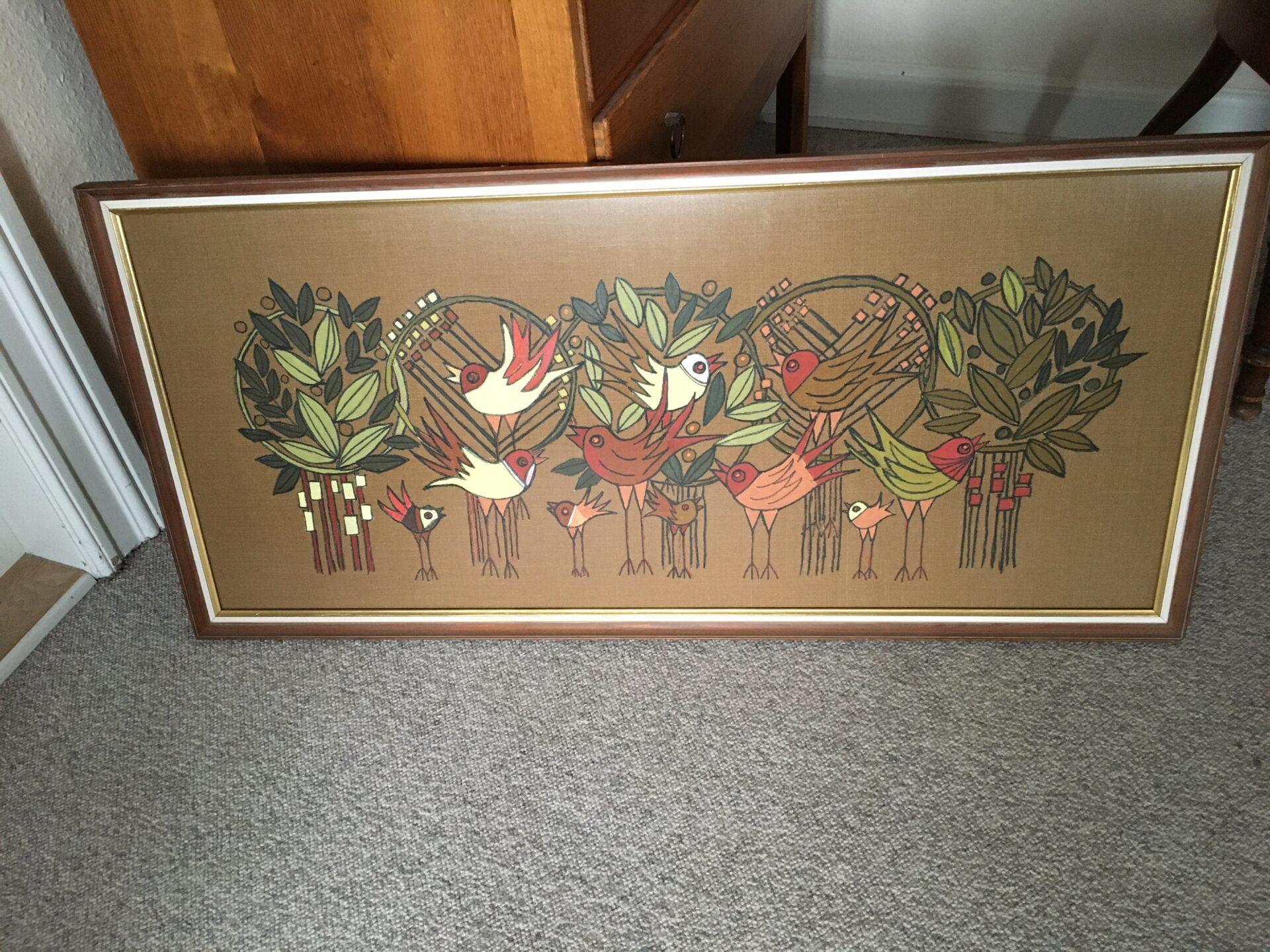 retro stoftryk/maleri, 103 x 50 cm, pris 300kr