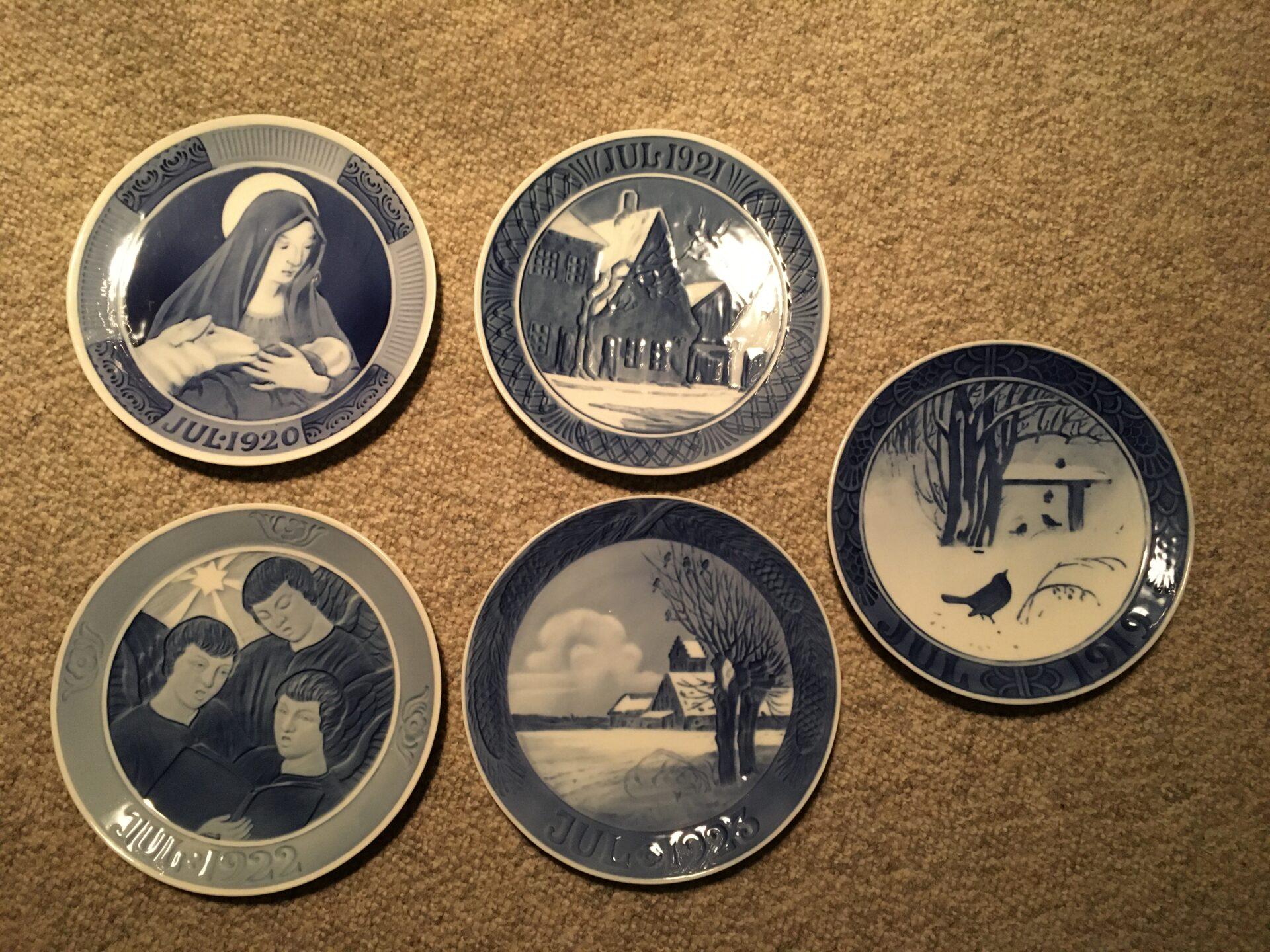 Kongelige juleplatter, 1919,1920,1921,1922,1923, pr. stk 200 kr