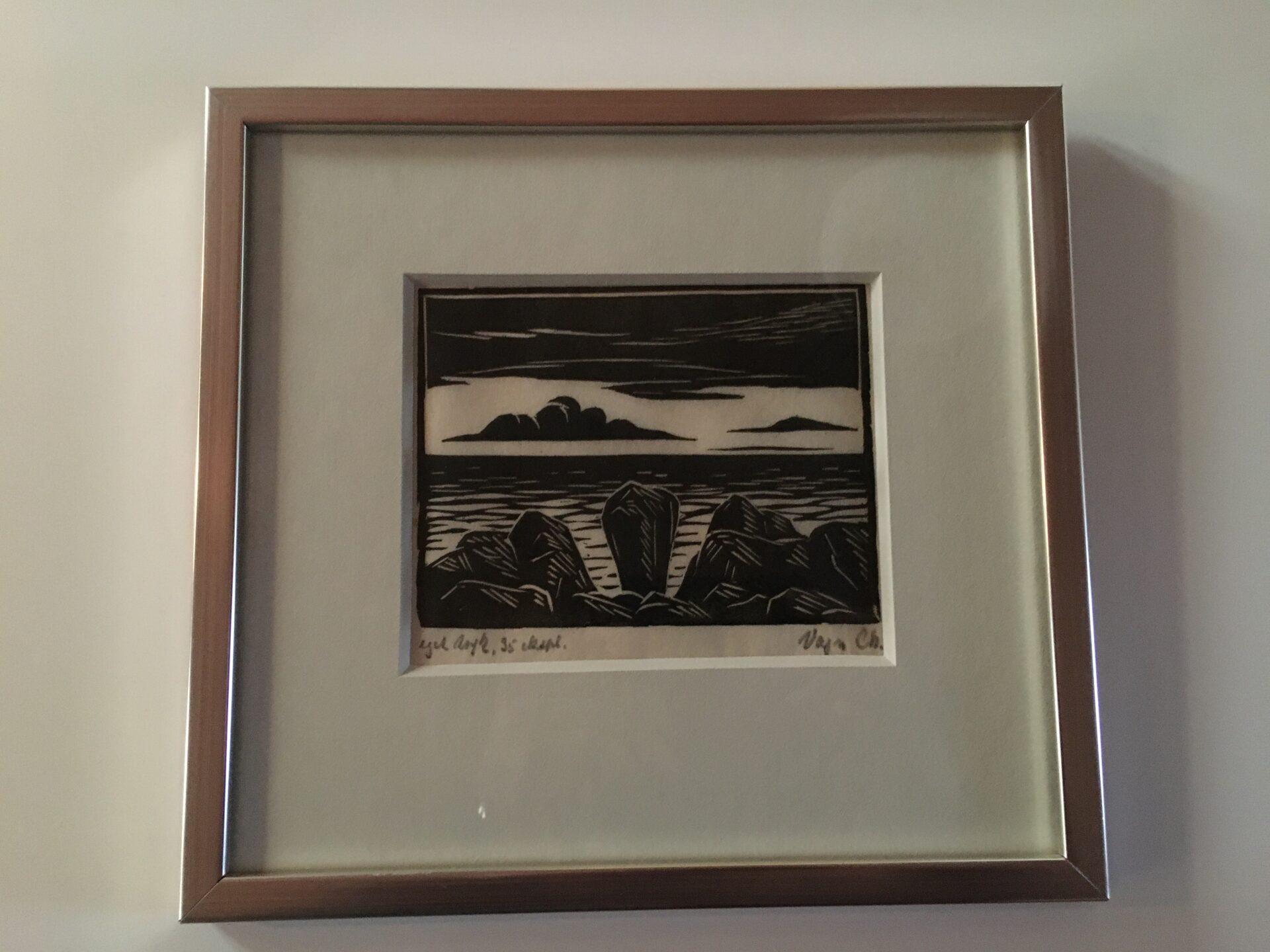 Vagn Christensen, træsnit, (rammemål 25x27 cm), sign Vagn Ch. 35 eksmpl. pris 300 kr