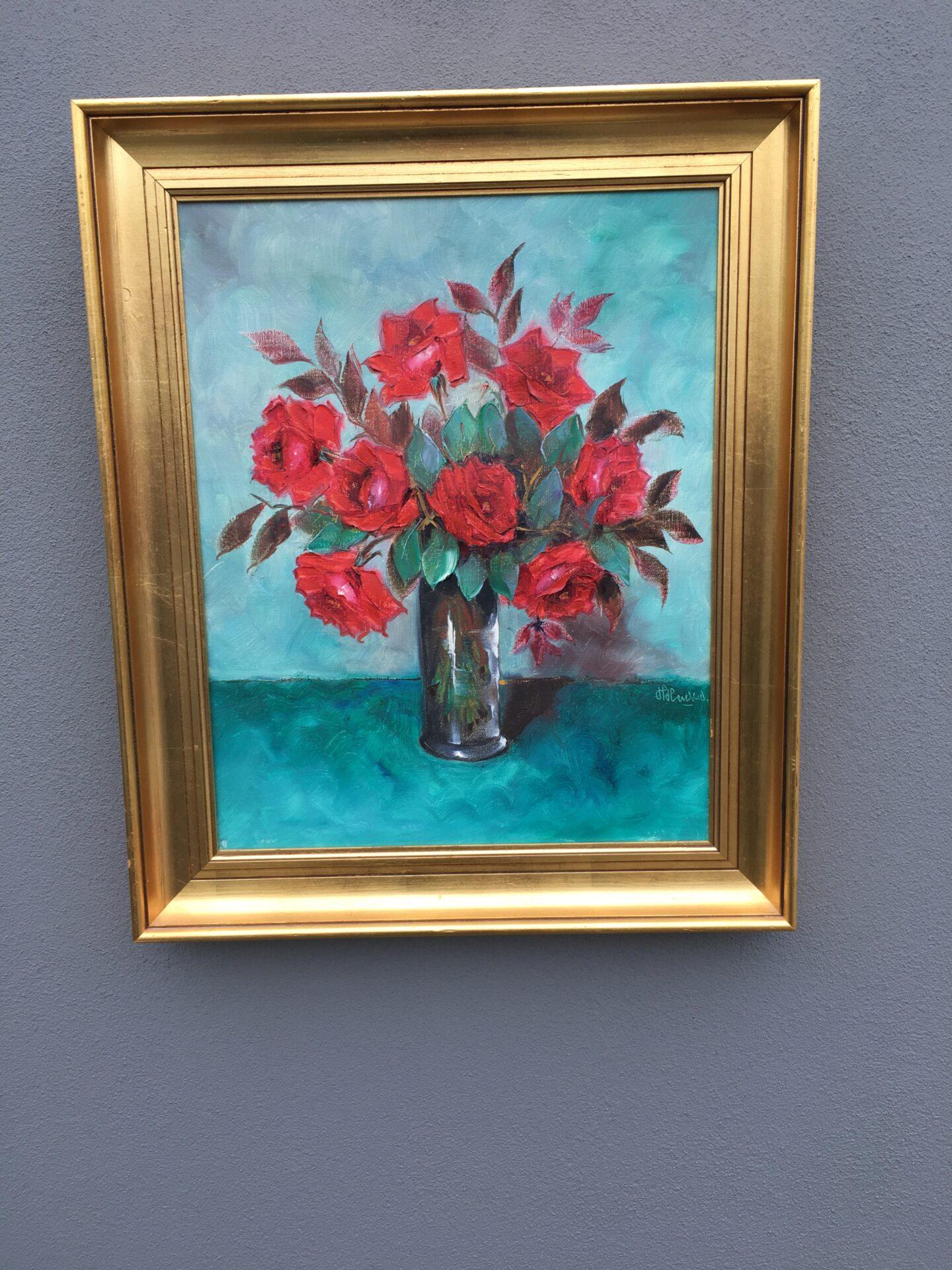 Harriet Hansen, Røde roser, oliemaleri på lærred,  52x63 cm, pris 500kr