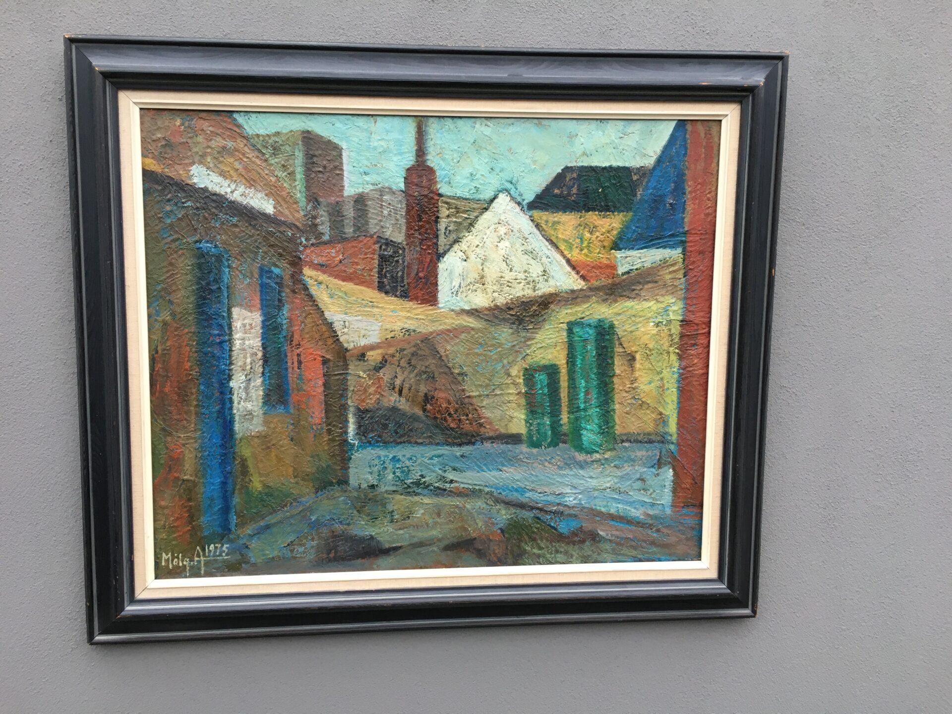 Maleri sign, Mølgaard Andersen 75, rammemål 73x87 cm, pris 700kr