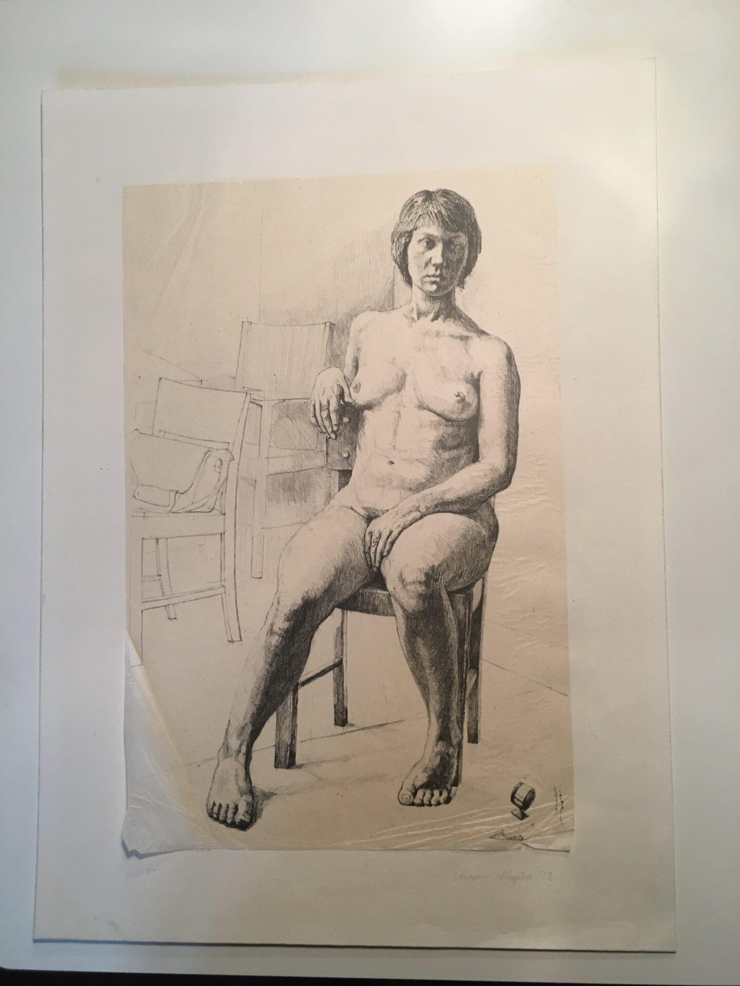 Tryk på japanerpapir, signeret Mogens Nørgård, 72, E.T. uindrammet, 33x50 cm, pris 1000 kr