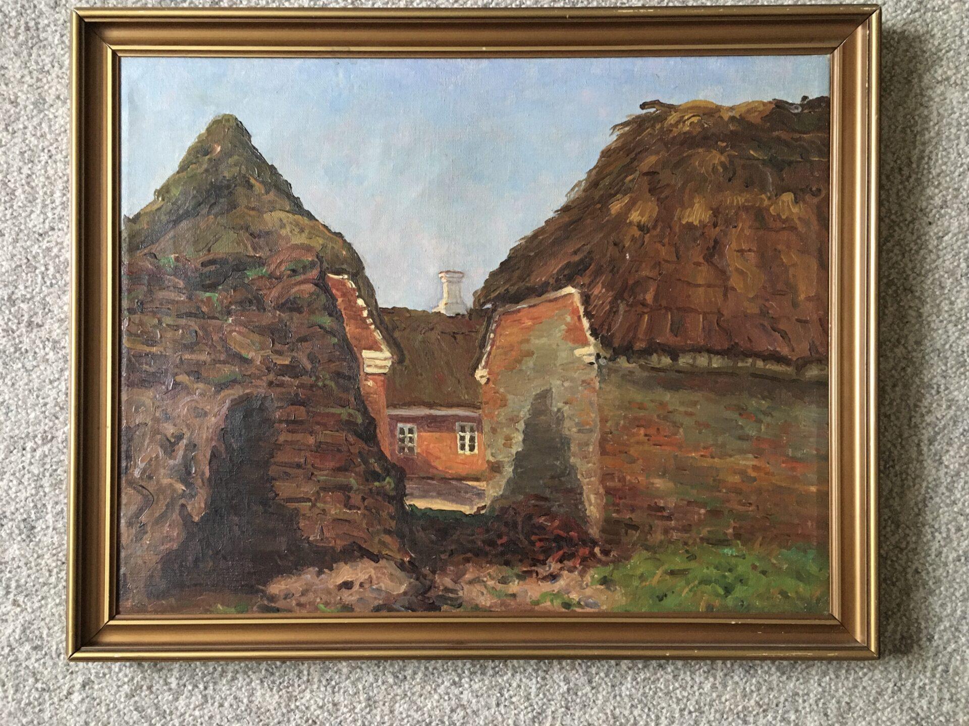 Jens Lauritzen Thomsen, Ansager, maleri, rammemål 53x42 cm, pris 500 kr