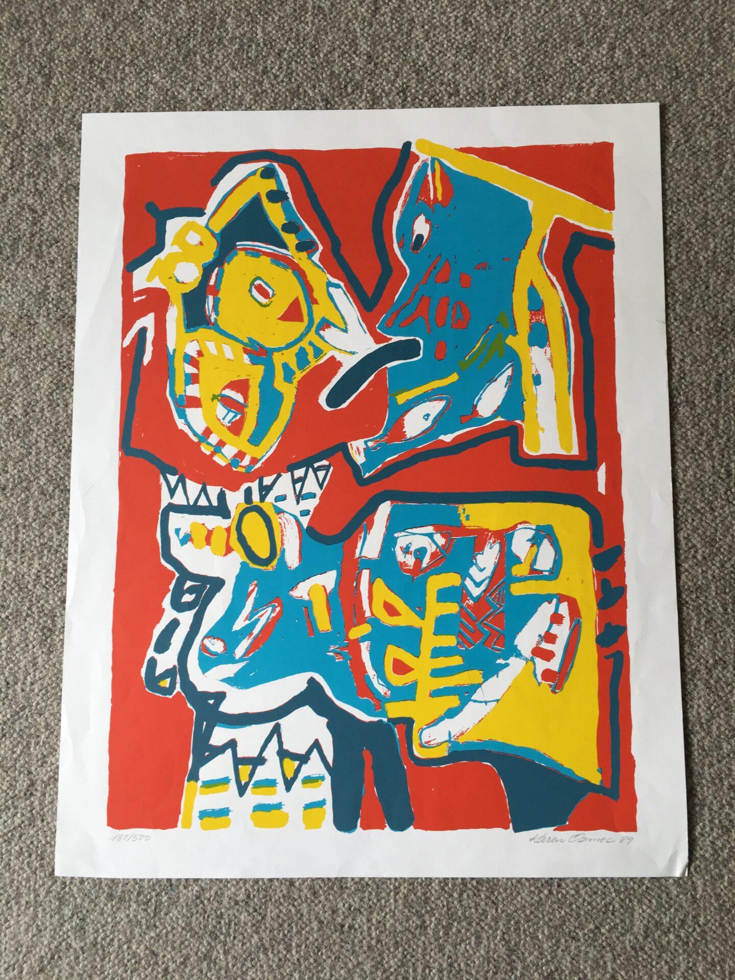 Karen Ozmec, litografi nr.181/500, signeret i 89, uindrammet, 58x44 cm, pris 300 kr
