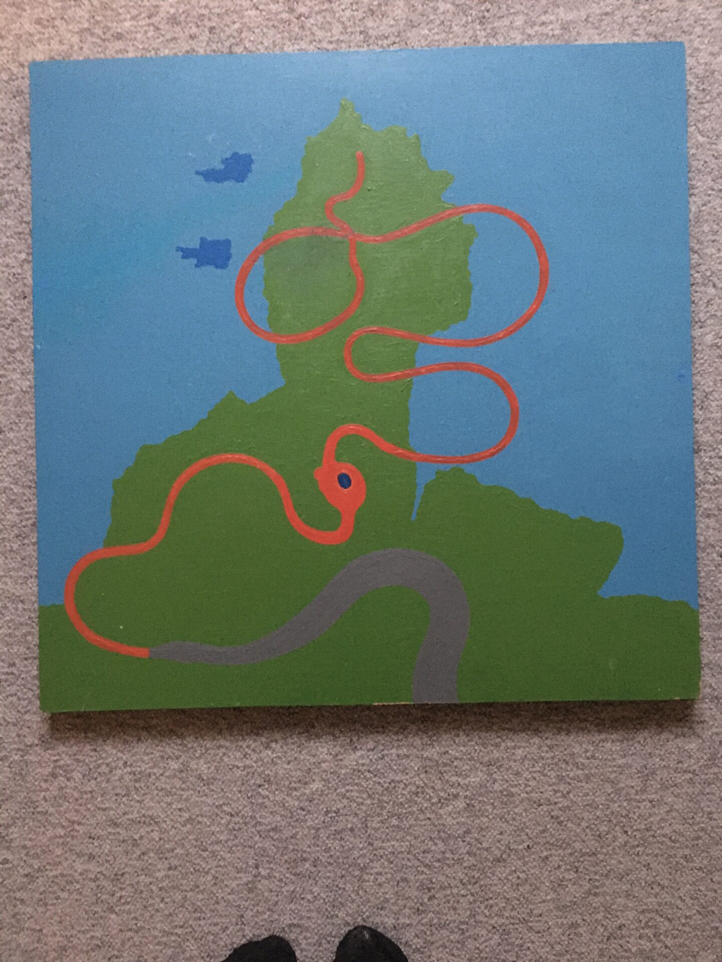 Poul Agger, maleri, plade opsat på ramme, 64x64 cm, pris 800kr