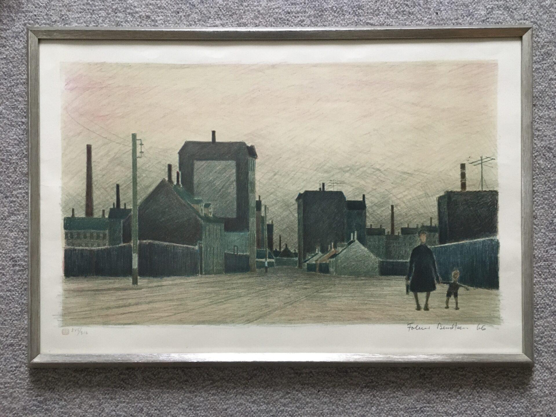 Folmer Bendtsen litografi nr. 248/316 signeret i 66, parti fra Sydhavnen, pris 1200kr